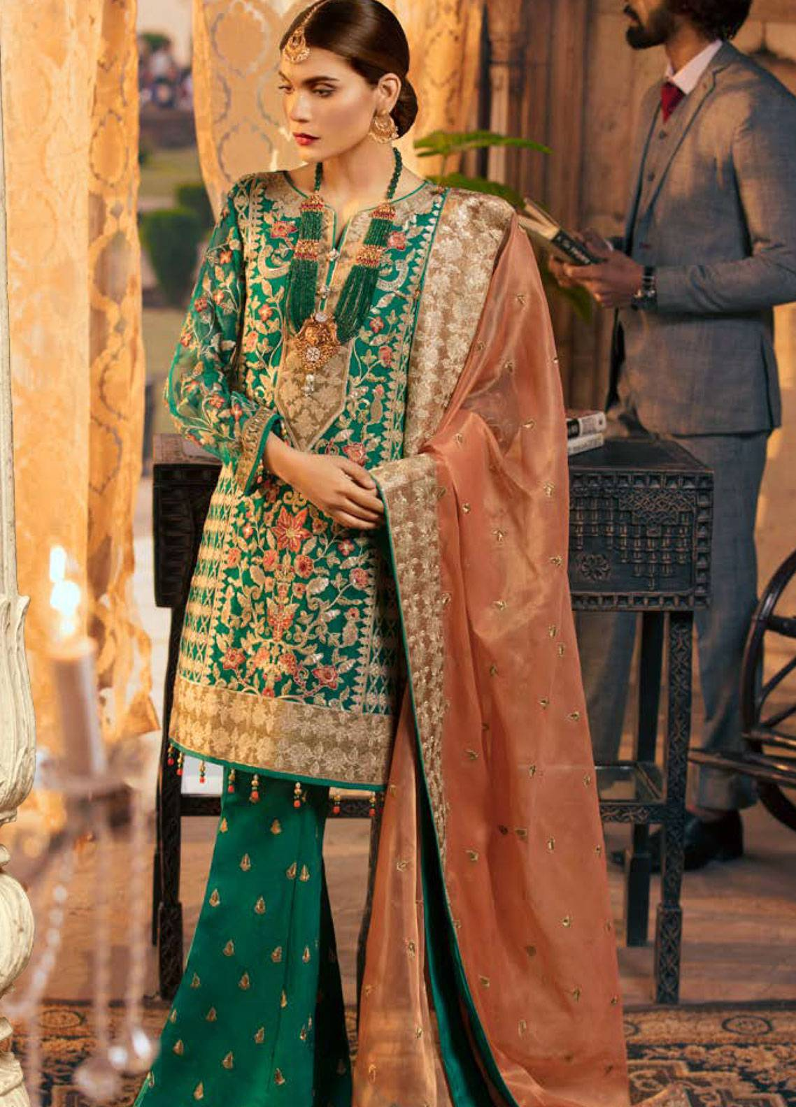 Maryum N Maria Embroidered Chiffon Unstitched 3 Piece Suit SMM19LC 07 Segar - Luxury Collection