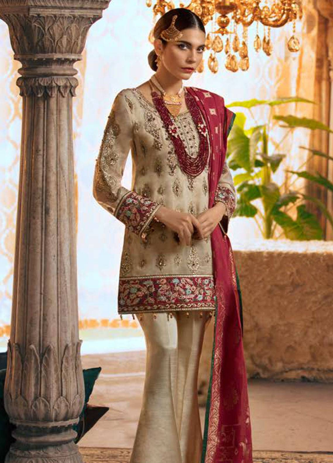 Maryum N Maria Embroidered Chiffon Unstitched 3 Piece Suit SMM19LC 08 Pien - Luxury Collection