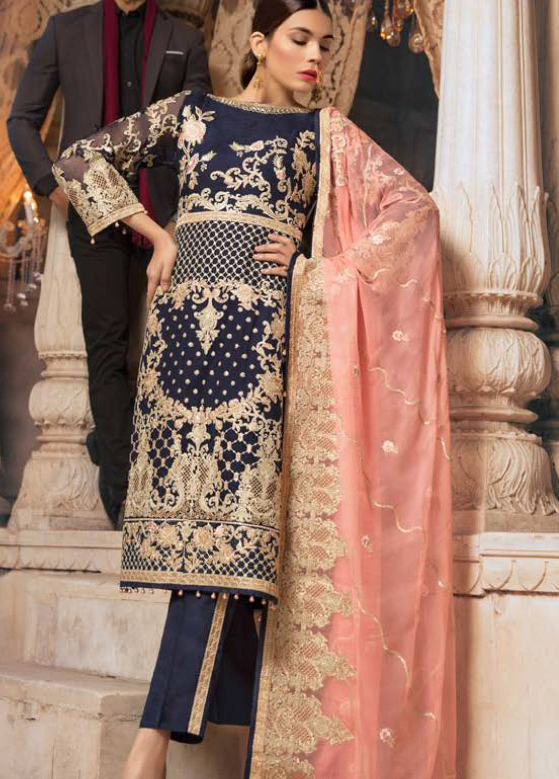Maryum N Maria Embroidered Chiffon Unstitched 3 Piece Suit SMM19LC 09 Poek - Luxury Collection