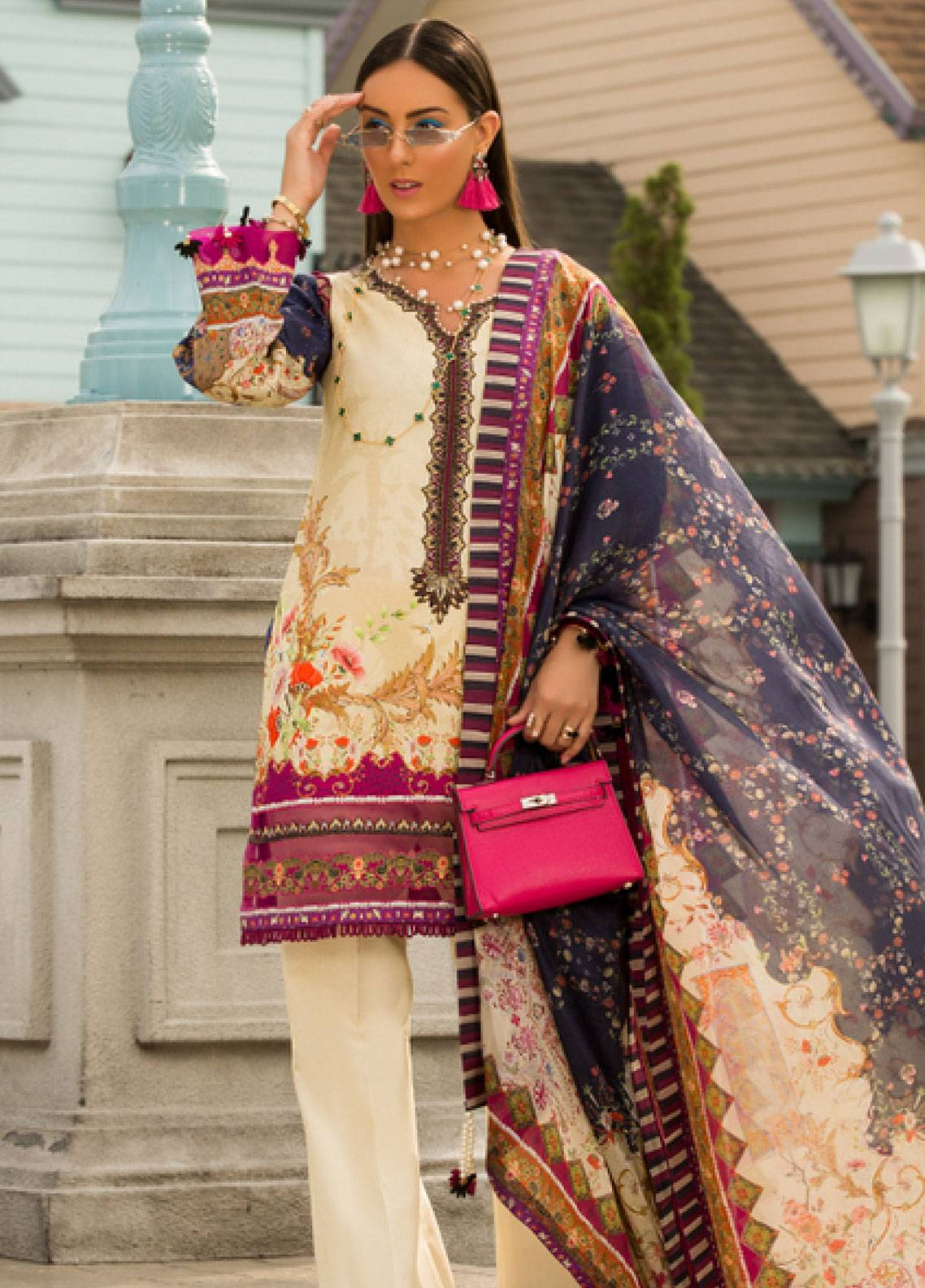 Shanaya by Saadia Asad Embroidered Lawn Unstitched 3 Piece Suit SSA19L 12 - Spring / Summer Collection