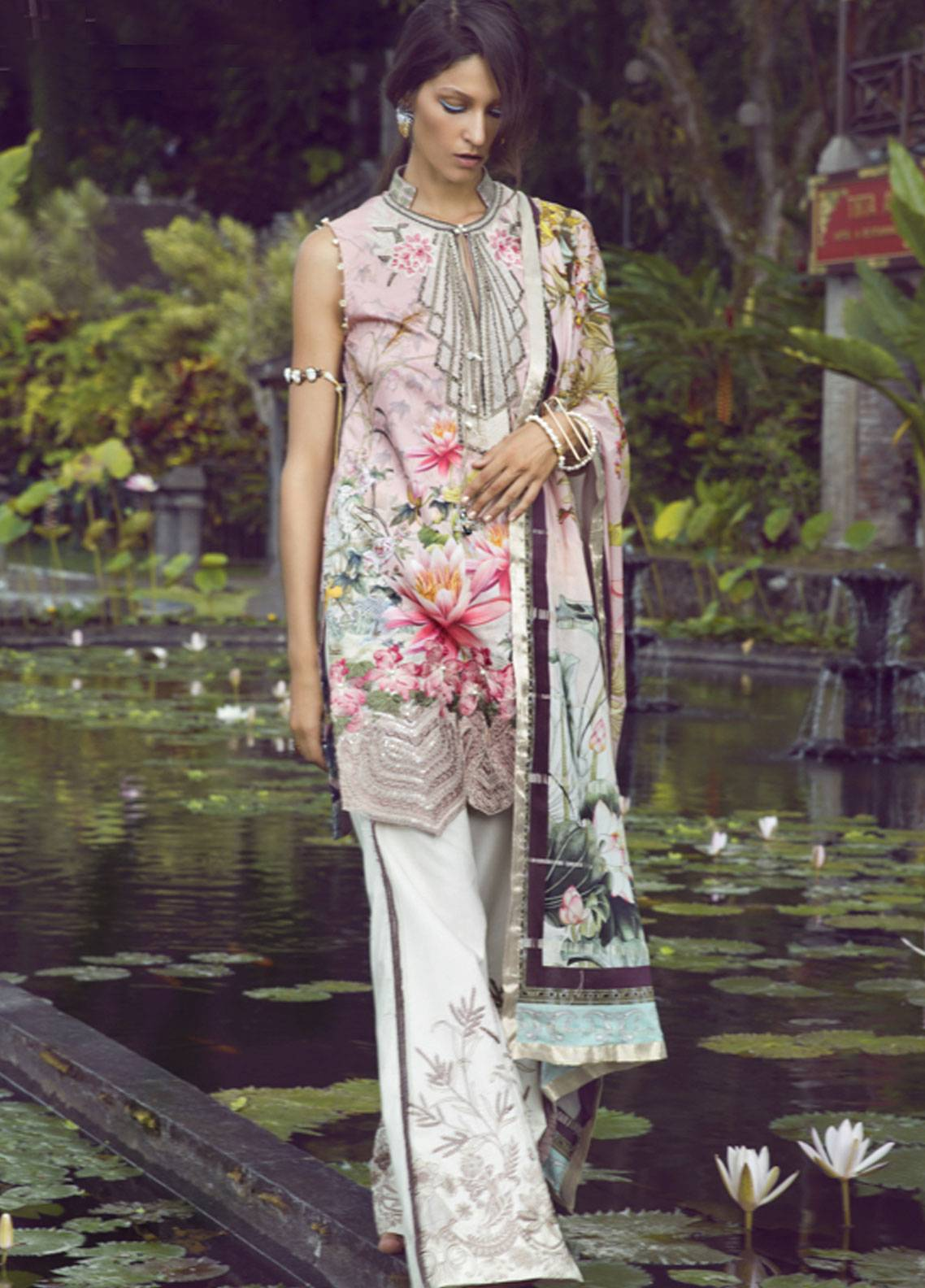 Shiza Hassan Embroidered Lawn Unstitched 3 Piece Suit SH19L 2A LOTUS DREAM - Spring / Summer Collection