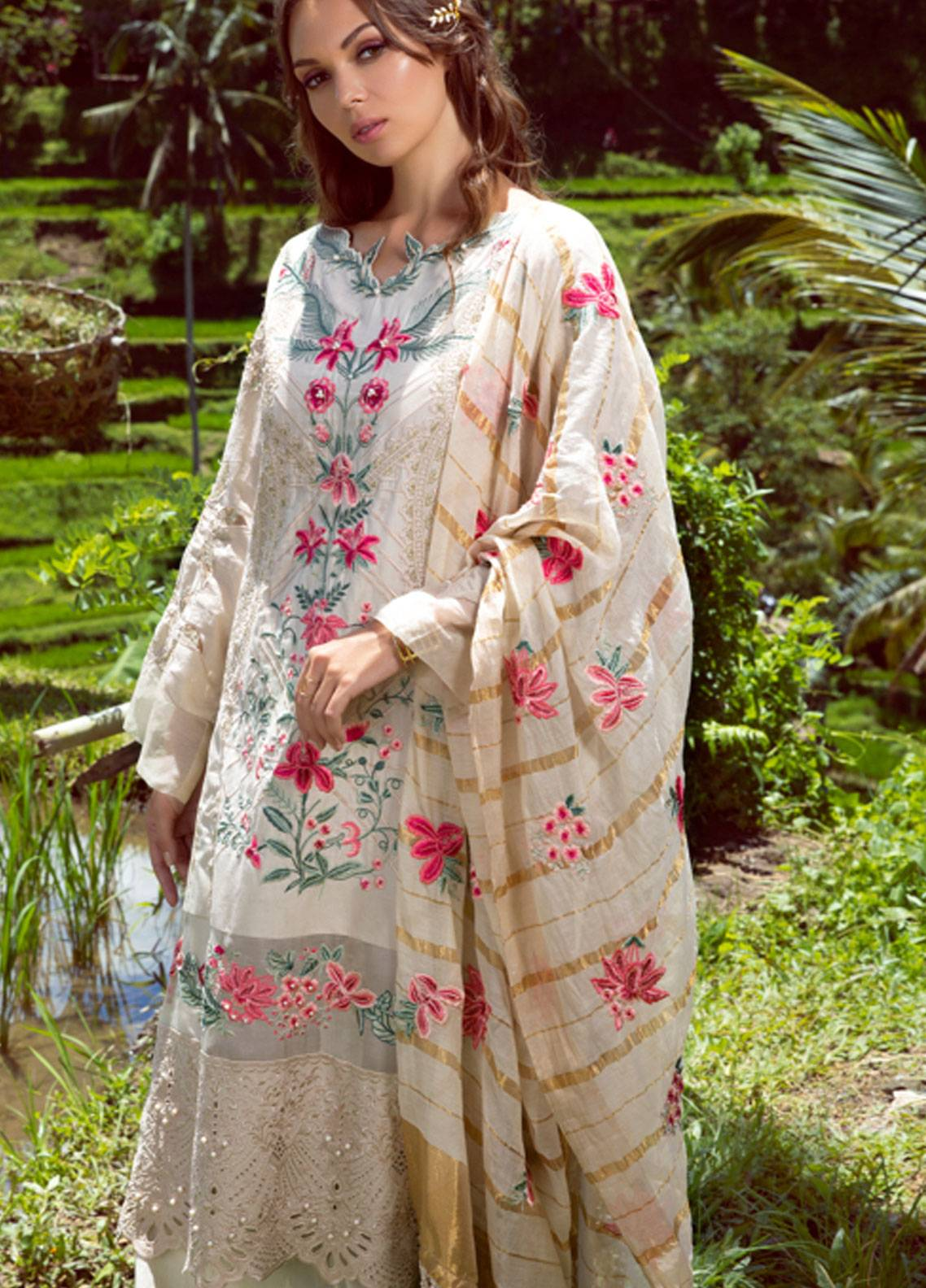 Shiza Hassan Embroidered Lawn Unstitched 3 Piece Suit SH19L 3A SORRET - Spring / Summer Collection