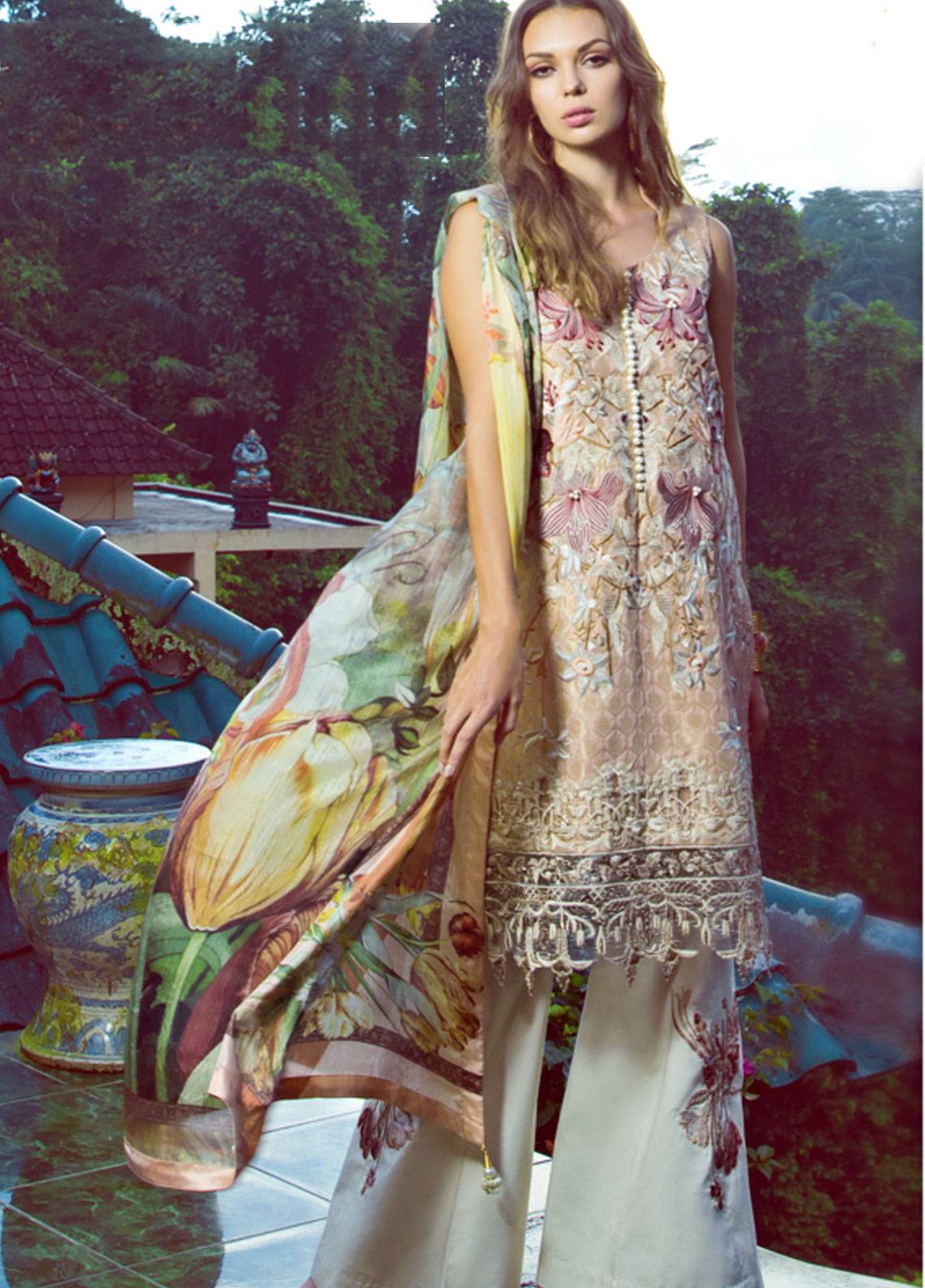 Shiza Hassan Embroidered Jacquard Unstitched 3 Piece Suit SH19L 4B MAGNOLIA - Spring / Summer Collection