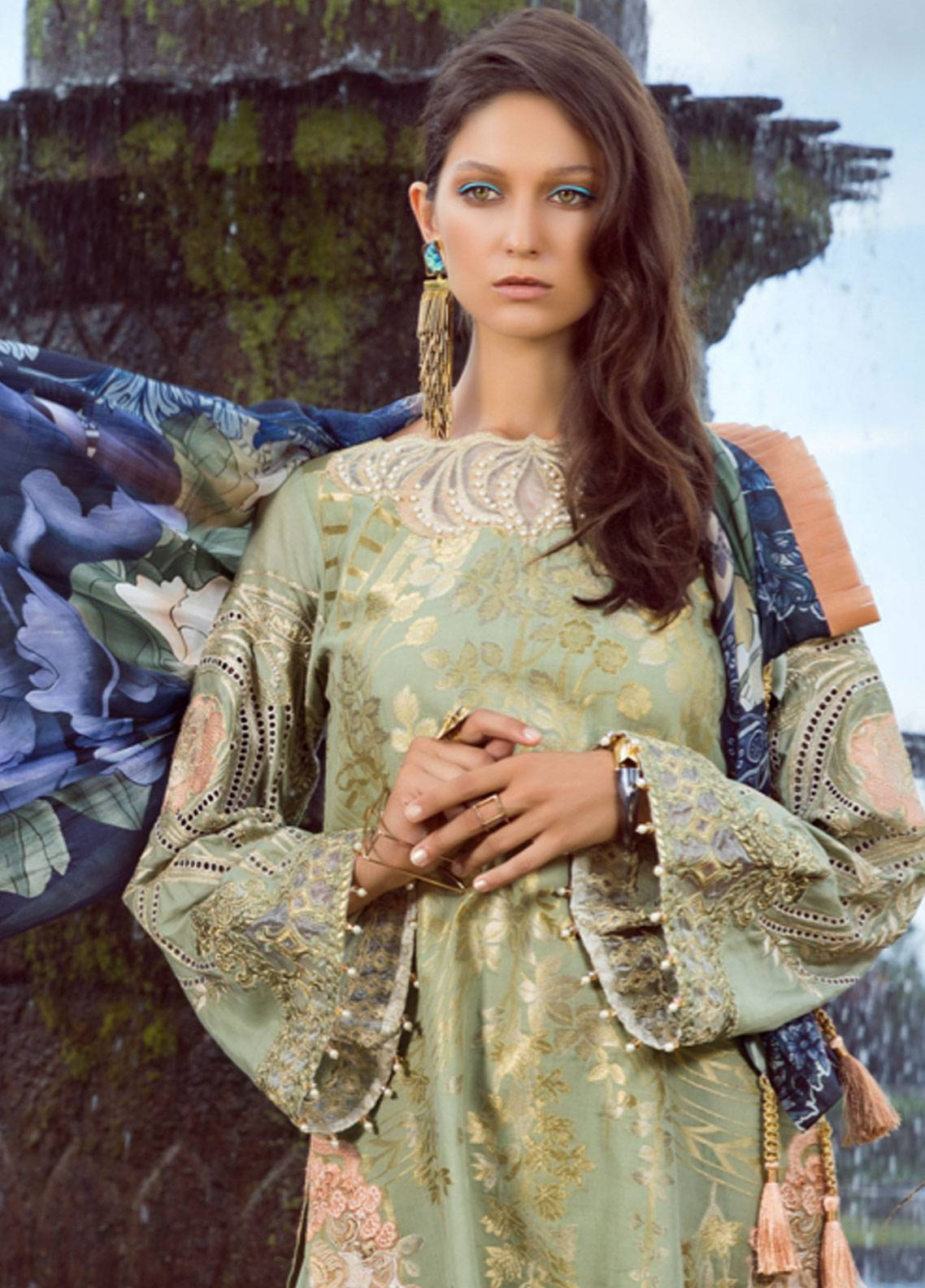 Shiza Hassan Embroidered Jacquard Unstitched 3 Piece Suit SH19L 7A WISTERIA - Spring / Summer Collection