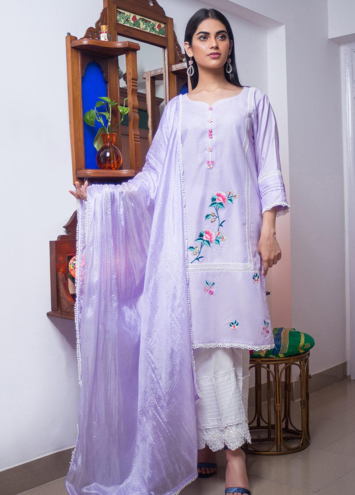 Sidra Mumtaz Embroidered Cotton Silk Stitched 3 Piece Suit CHARCOAL MICKS PEPPERMINT