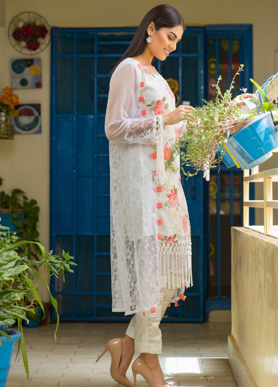 Sidra Mumtaz Embroidered Cotton Stitched 3 Piece Suit ERYTHRONIUM BELINER KLEENE