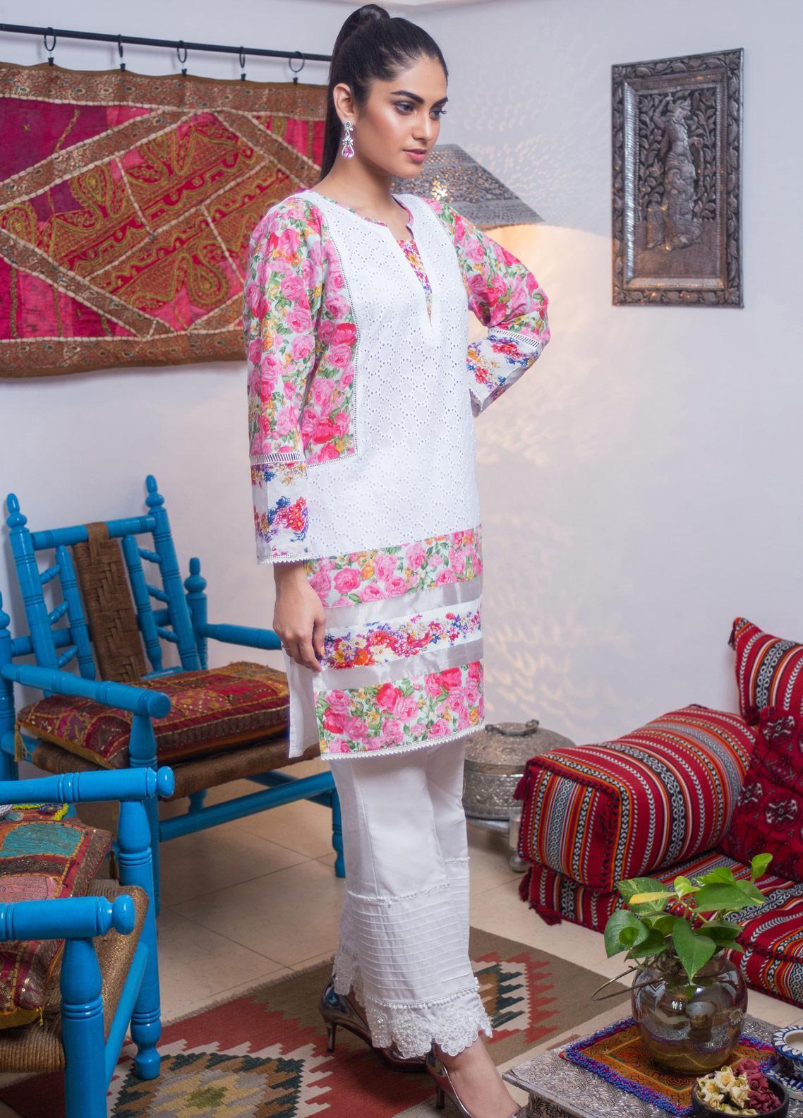 Sidra Mumtaz Embroidered Lawn Stitched 3 Piece Suit PEPPERMINT JALDEC