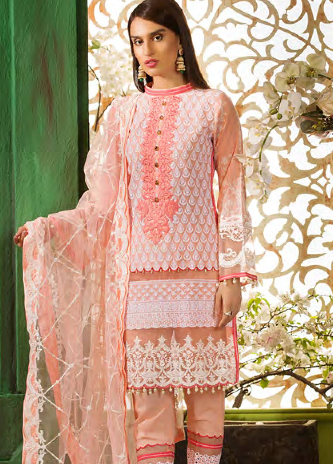 Sifona Embroidered Chikankari Unstitched 3 Piece Suit SFA19CK 01 MONA LISA - Luxury Collection