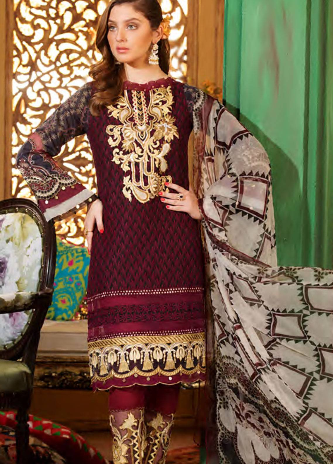 Sifona Embroidered Chikankari Unstitched 3 Piece Suit SFA19CK 02 SMETTING GOLD - Luxury Collection