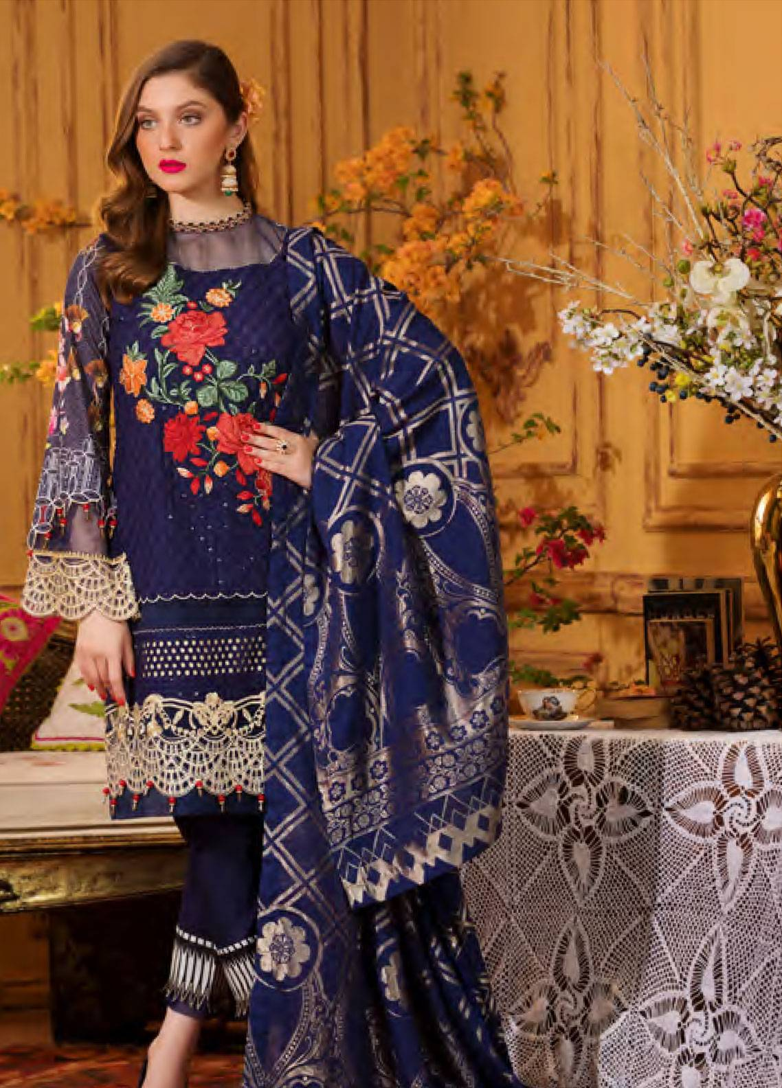 Sifona Embroidered Chikankari Unstitched 3 Piece Suit SFA19CK 04 ROYAL VICTORIA - Luxury Collection