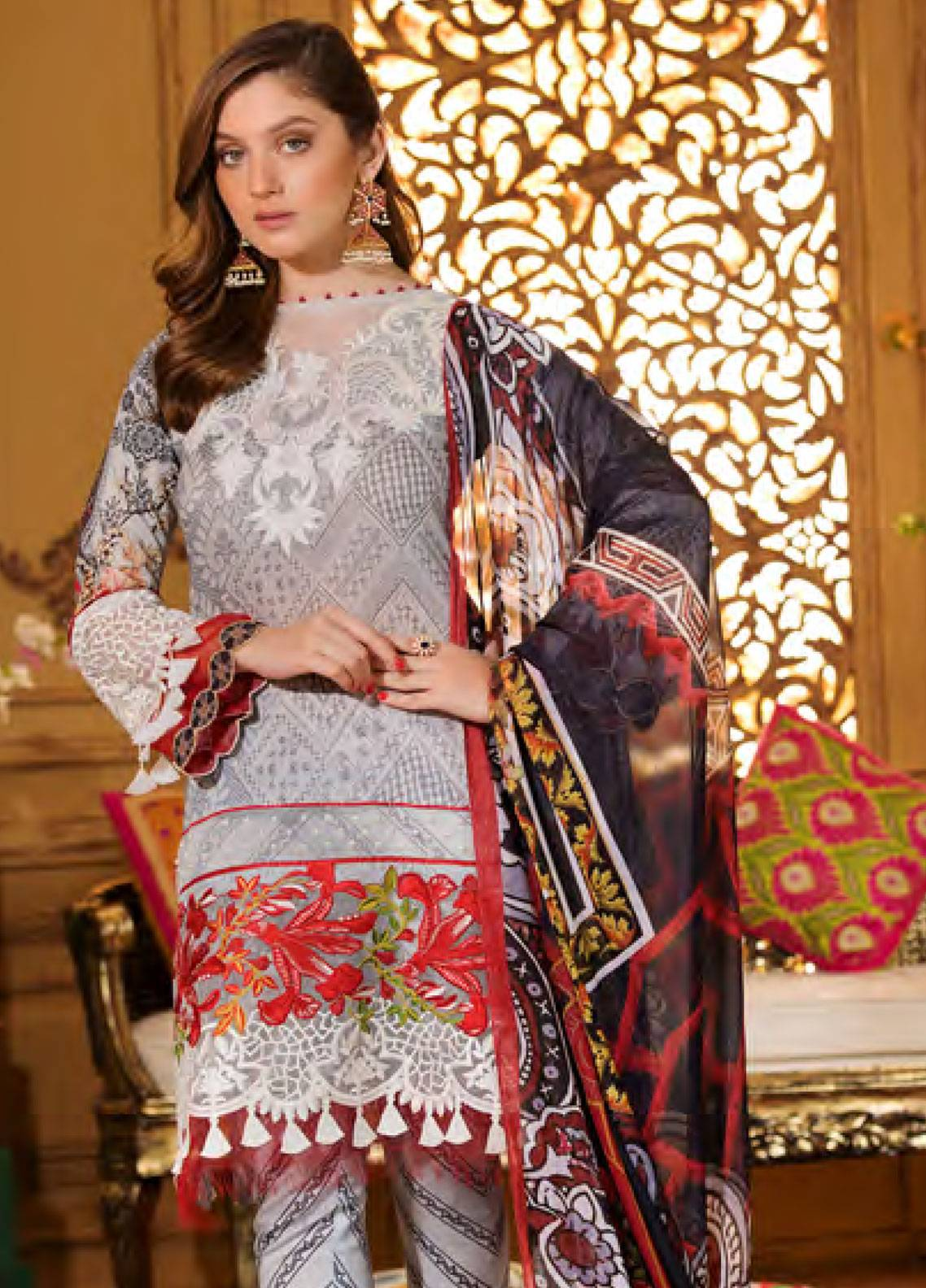 Sifona Embroidered Lawn Unstitched 3 Piece Suit SFA19CK 11 EXQUISITE STERLING - Luxury Collection