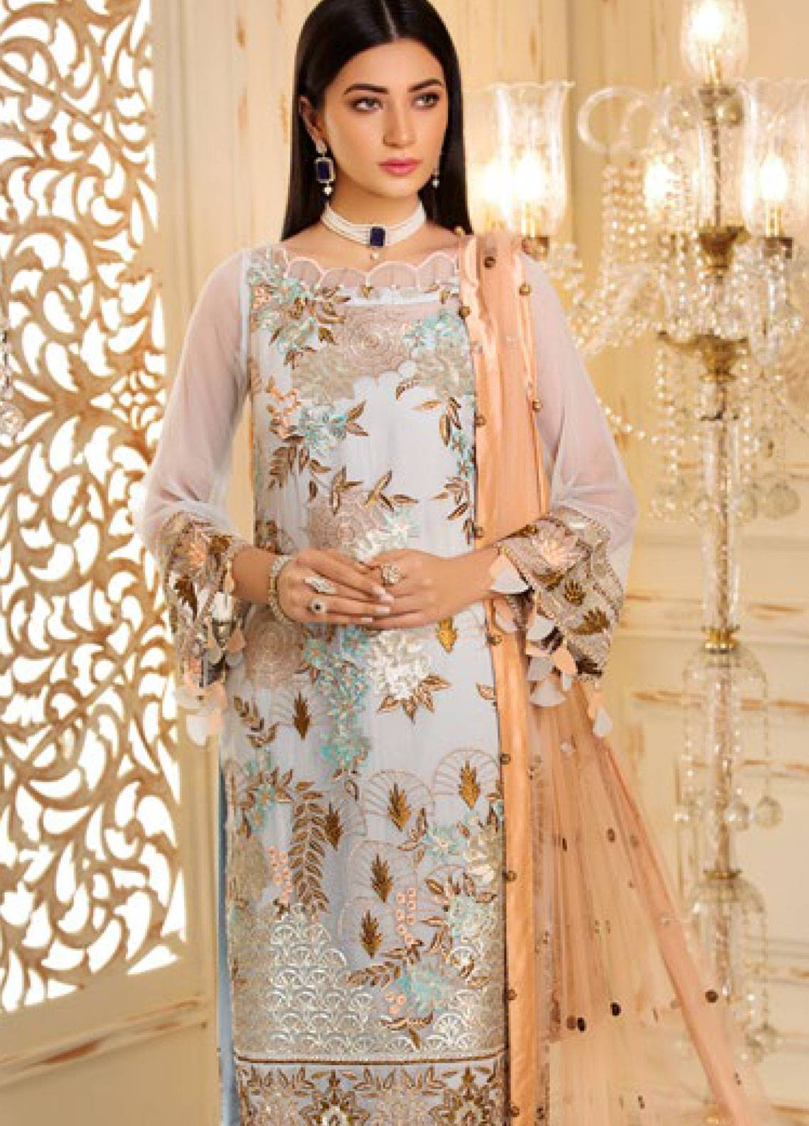Sifona Elmas Embroidered Chiffon Unstitched 3 Piece Suit SFE19C 02 ROYAL FROST - Luxury Collection