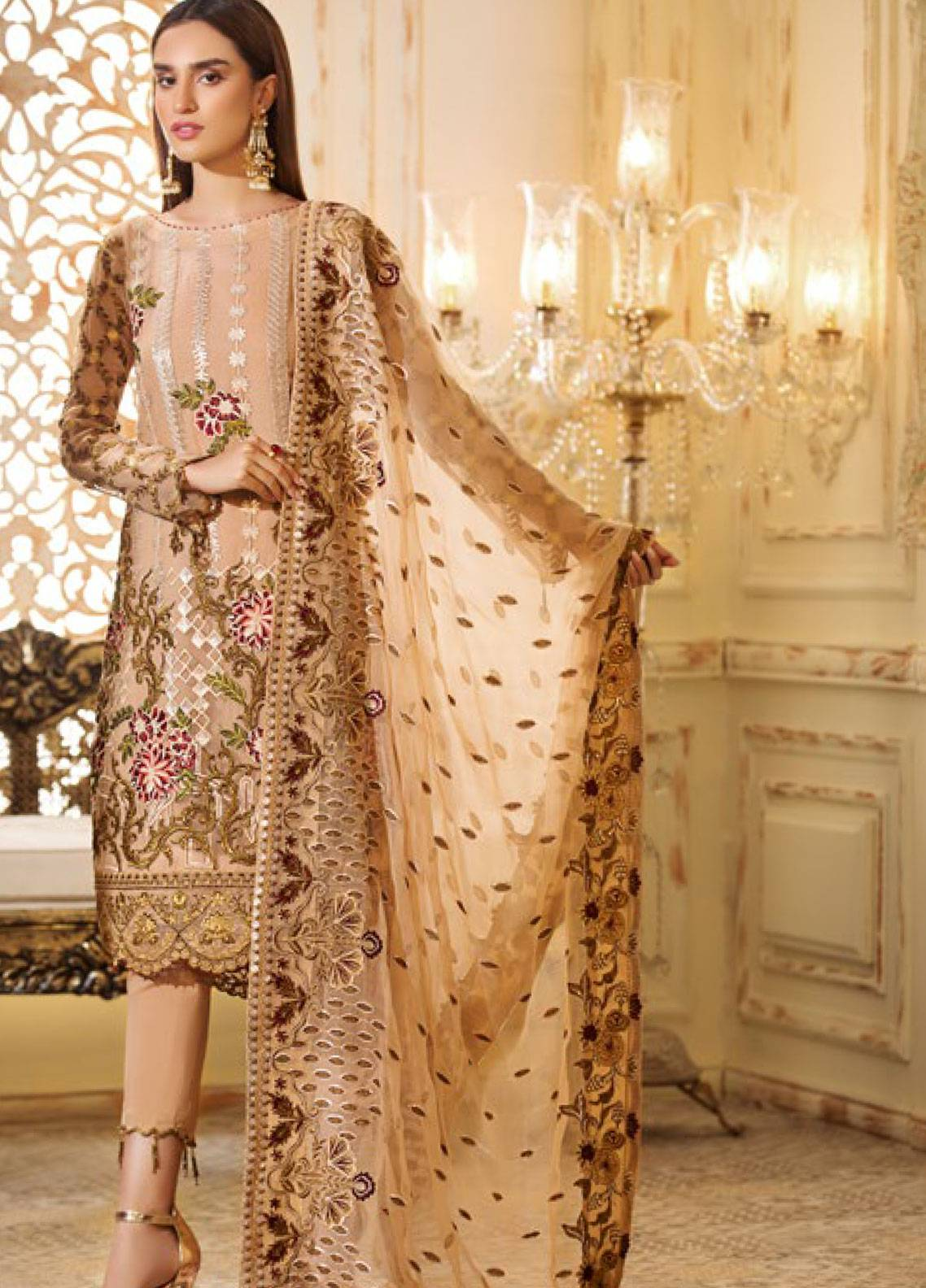 Sifona Elmas Embroidered Chiffon Unstitched 3 Piece Suit SFE19C 05 CANTALOUPE MAJESTY - Luxury Collection