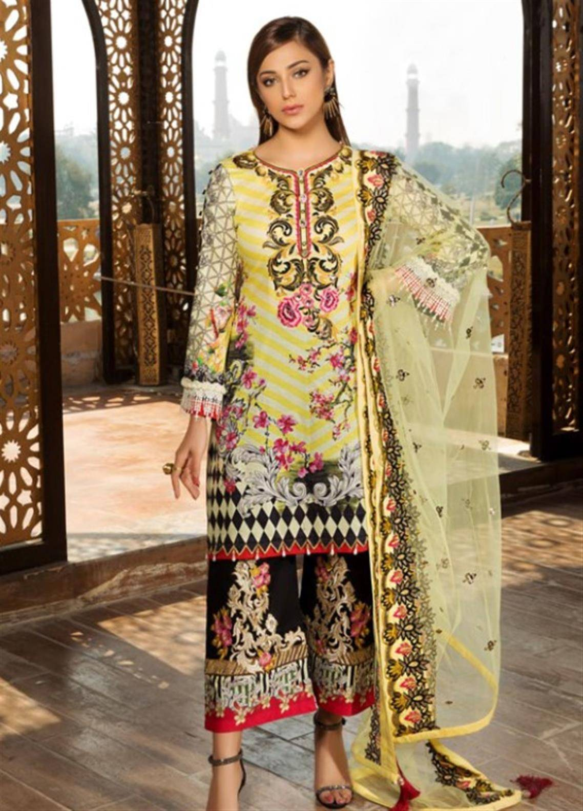 Sifona Embroidered Lawn Unstitched 3 Piece Suit SFM19L 10 Dandelion Rococo - Spring / Summer Collection