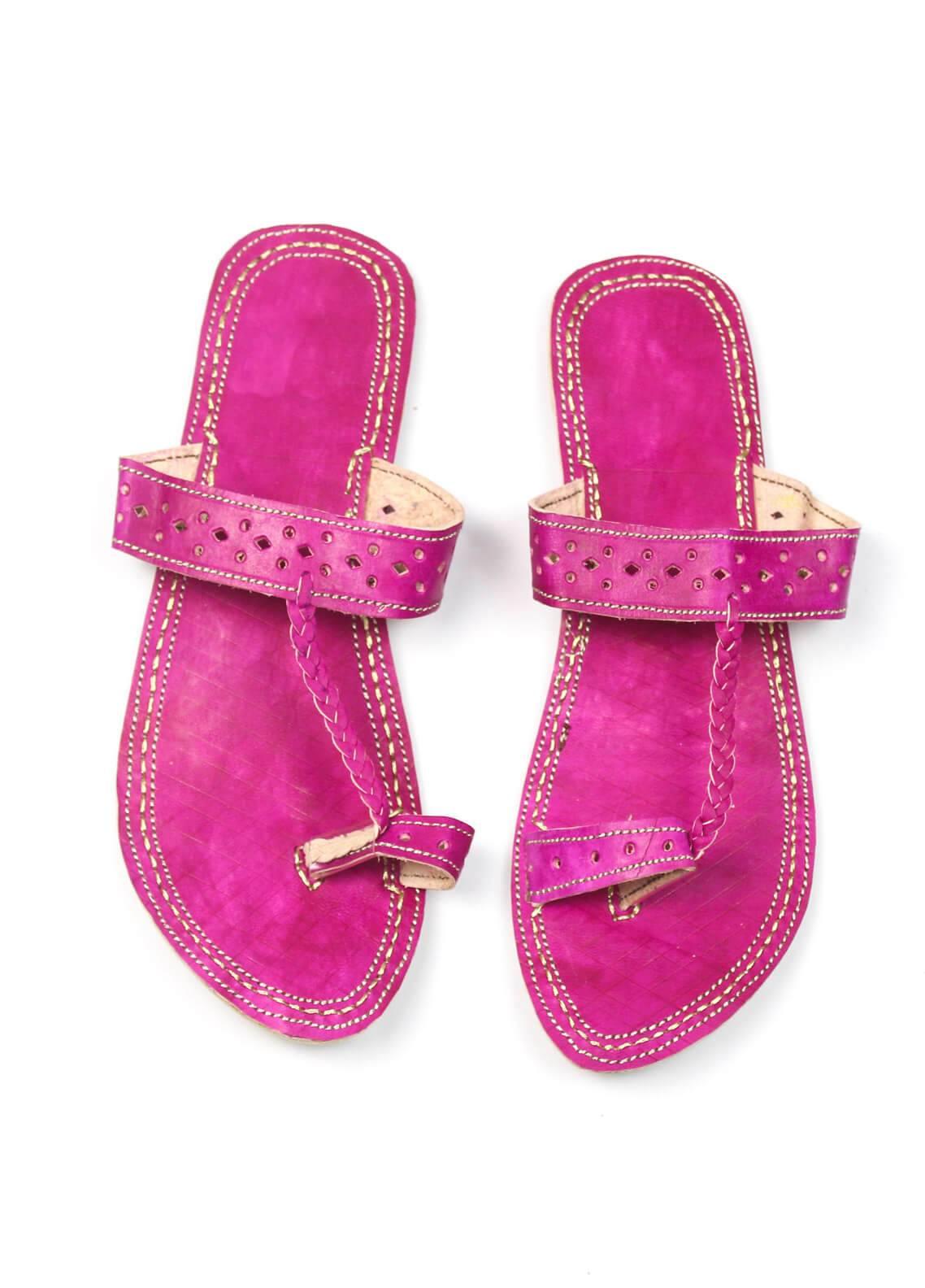 Silk Avenue Kolapuri Style Leather Flat Shoes SAF01-Pink