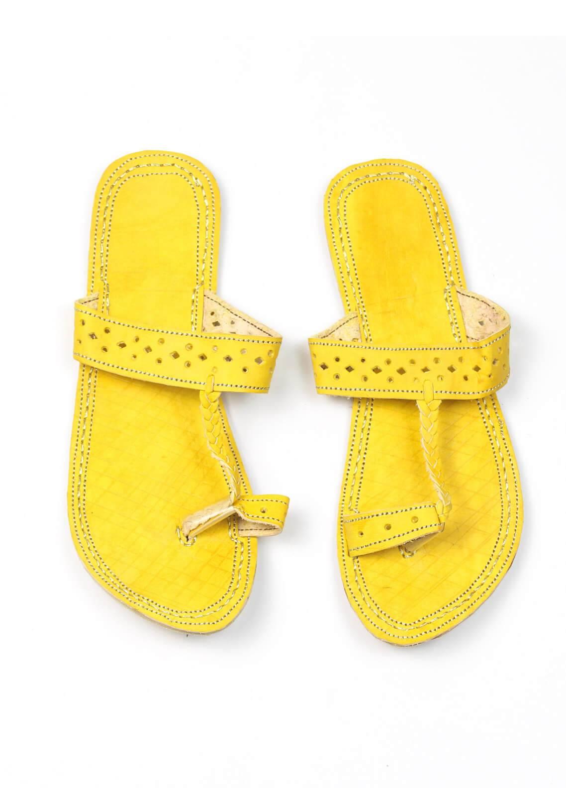 Silk Avenue Kolapuri Style Leather Flat Shoes SAF01-Yellow