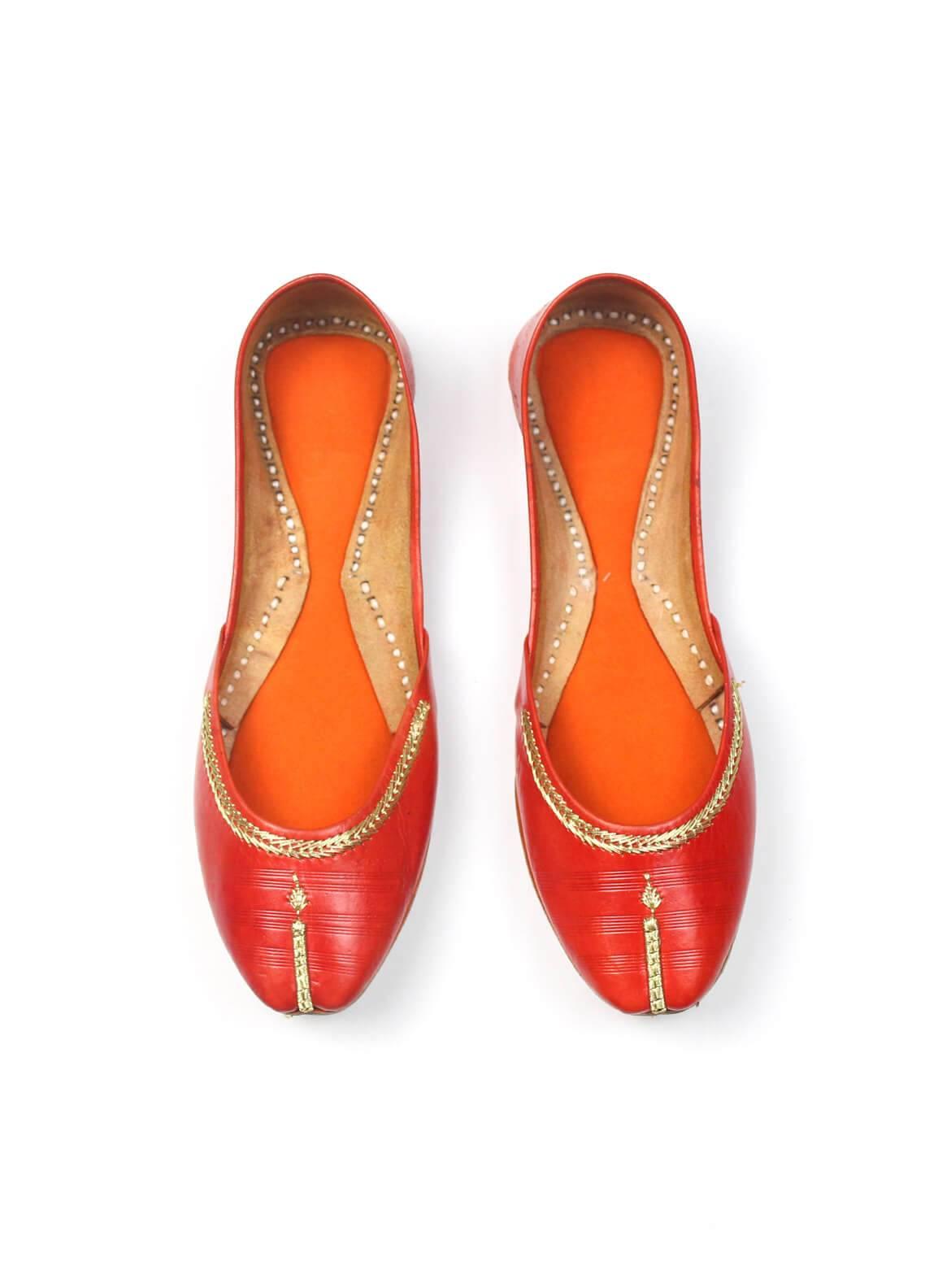 Silk Avenue Khussa Style Leather Flat Shoes SAF018-Orange
