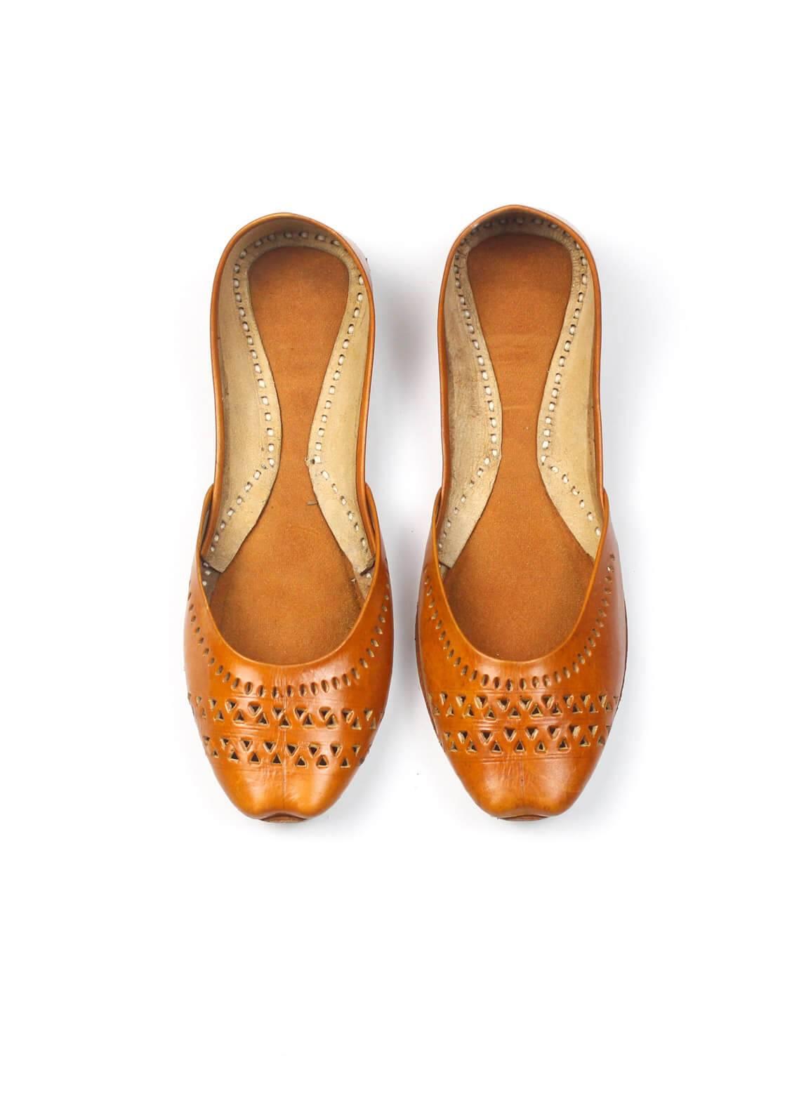 Silk Avenue Cutwork Style Khussa Leather SAF019-Brown