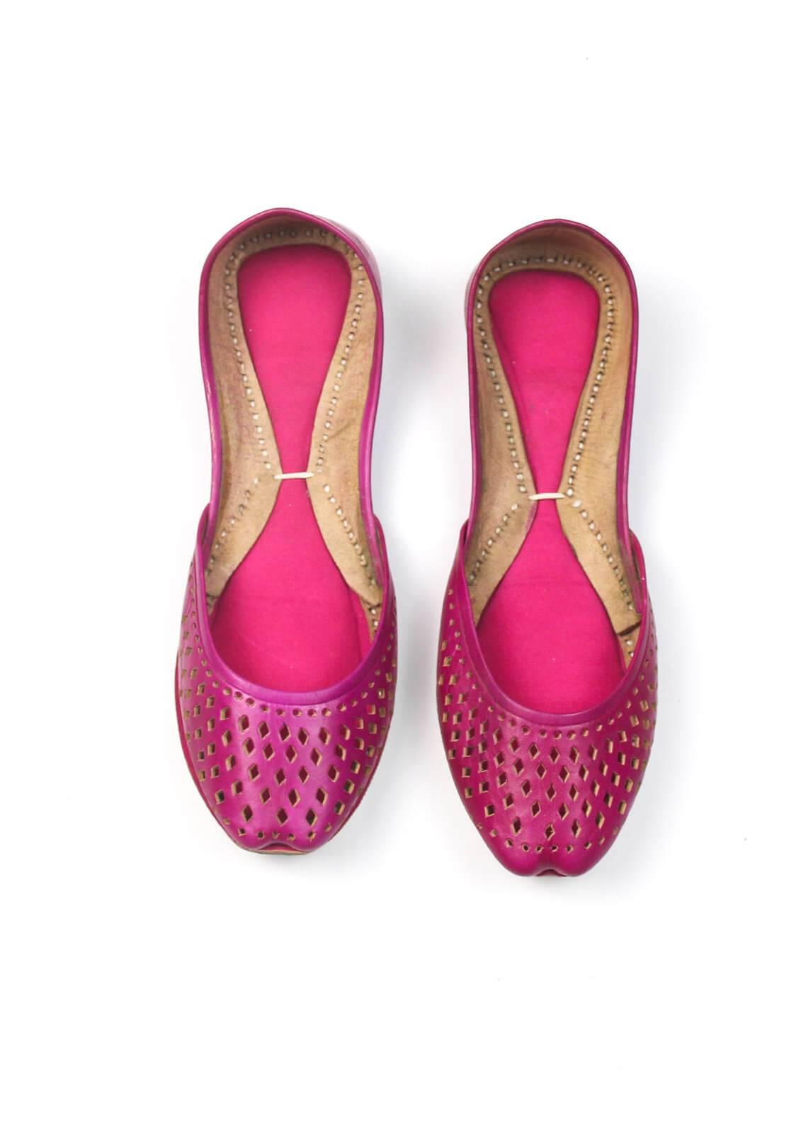 Silk Avenue Cutwork Style Khussa Leather SAF019-Pink