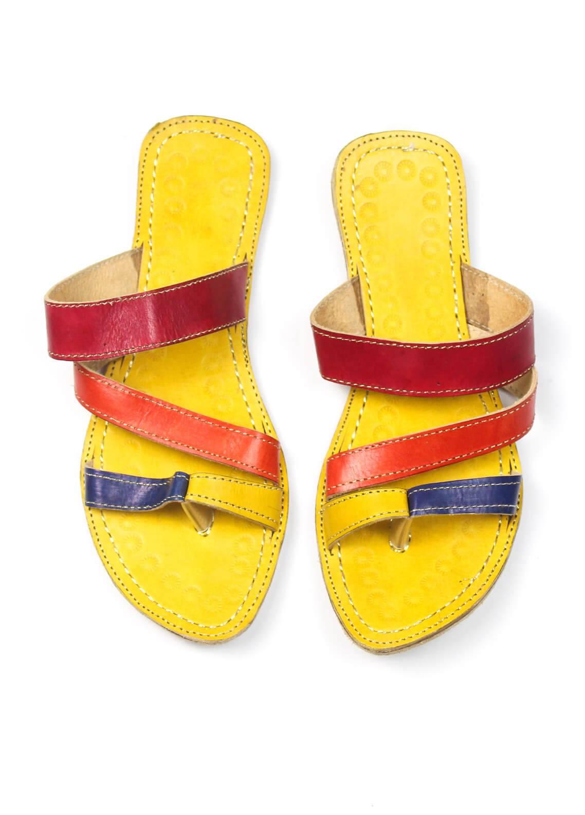 Silk Avenue Kolapuri Style Leather Flat Shoes SAF03-Multicolor
