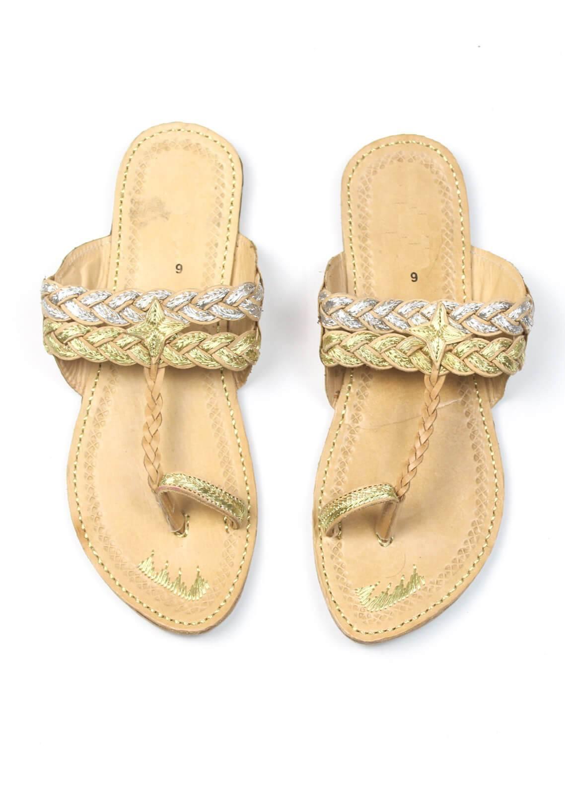 Silk Avenue Kolapuri Style Leather Flat Shoes SAF08-Classic