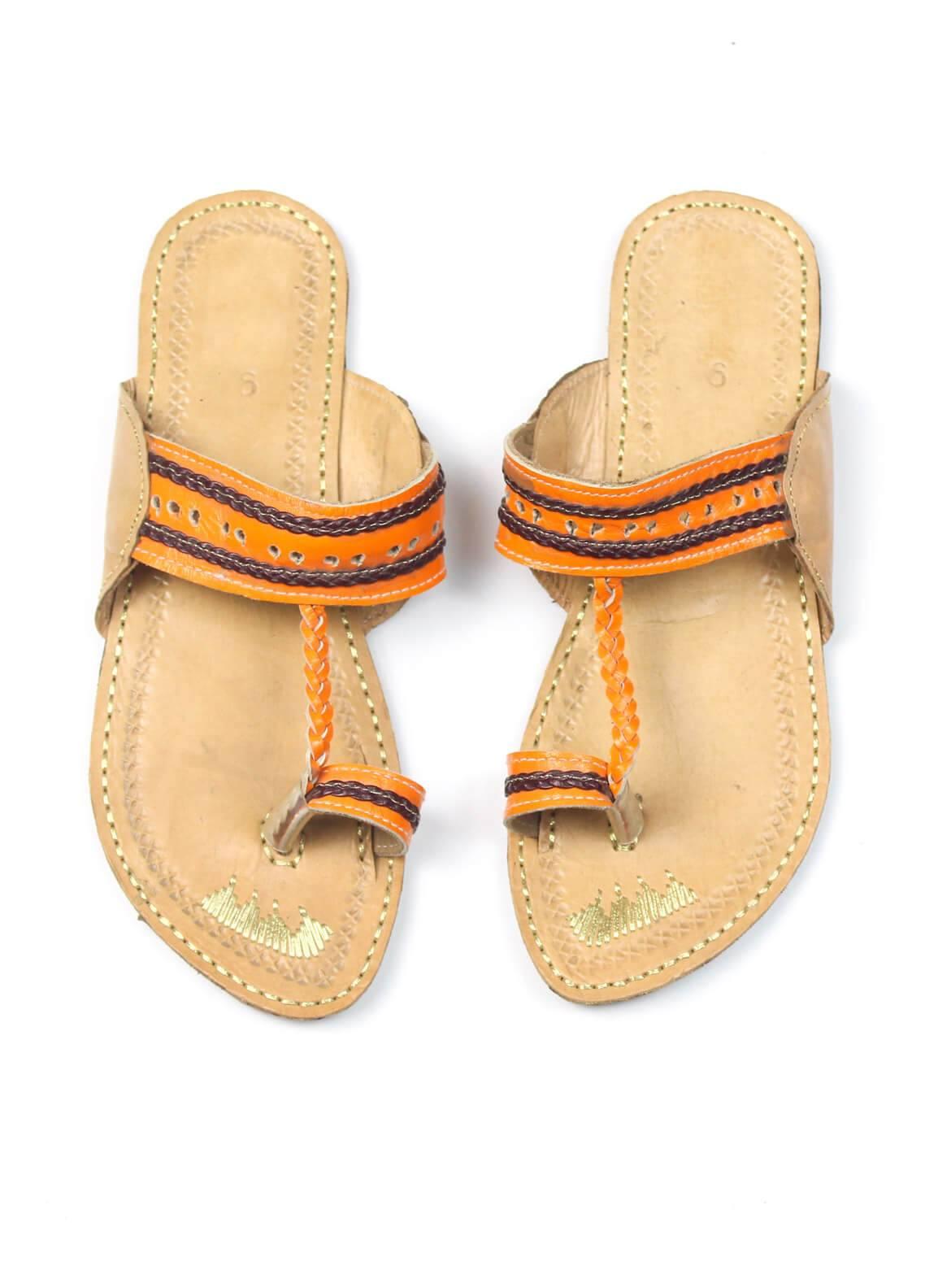 Silk Avenue Kolapuri Style Leather Flat Shoes SAF09-Orange
