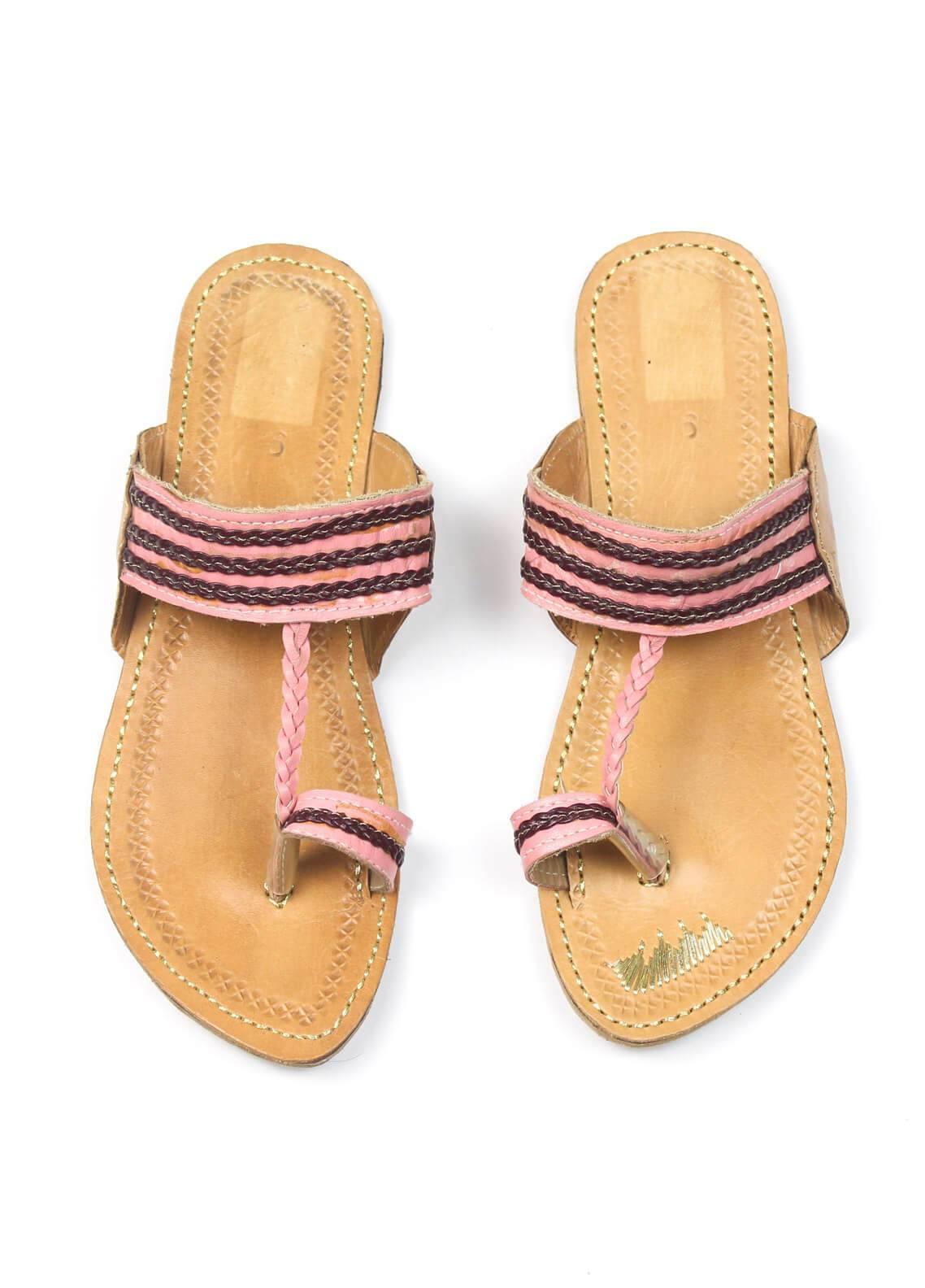 Silk Avenue Kolapuri Style Leather Flat Shoes SAF09-Pink