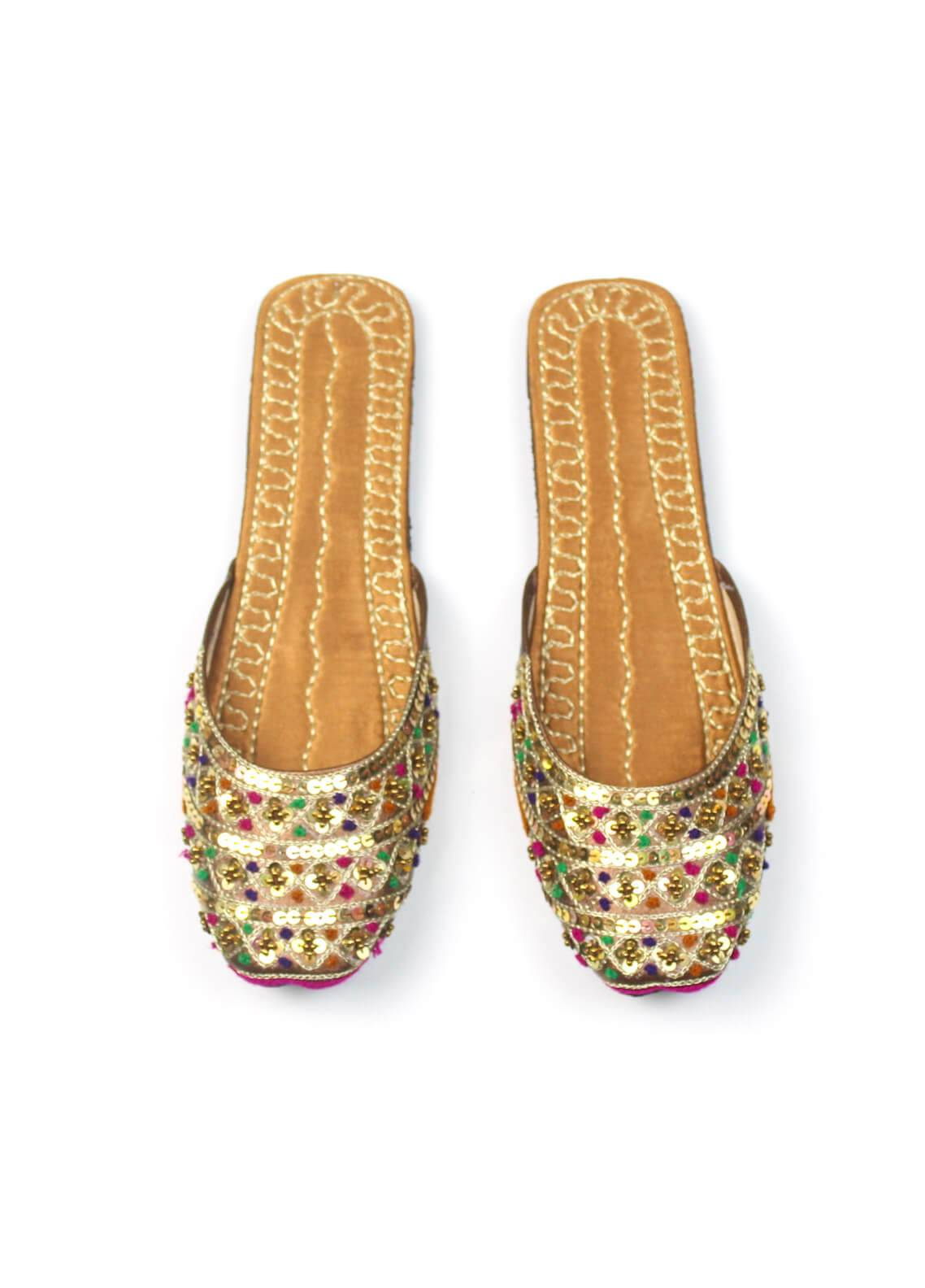 Silk Avenue Open Khussa Style Leather Flat Shoes SAF13-Gold
