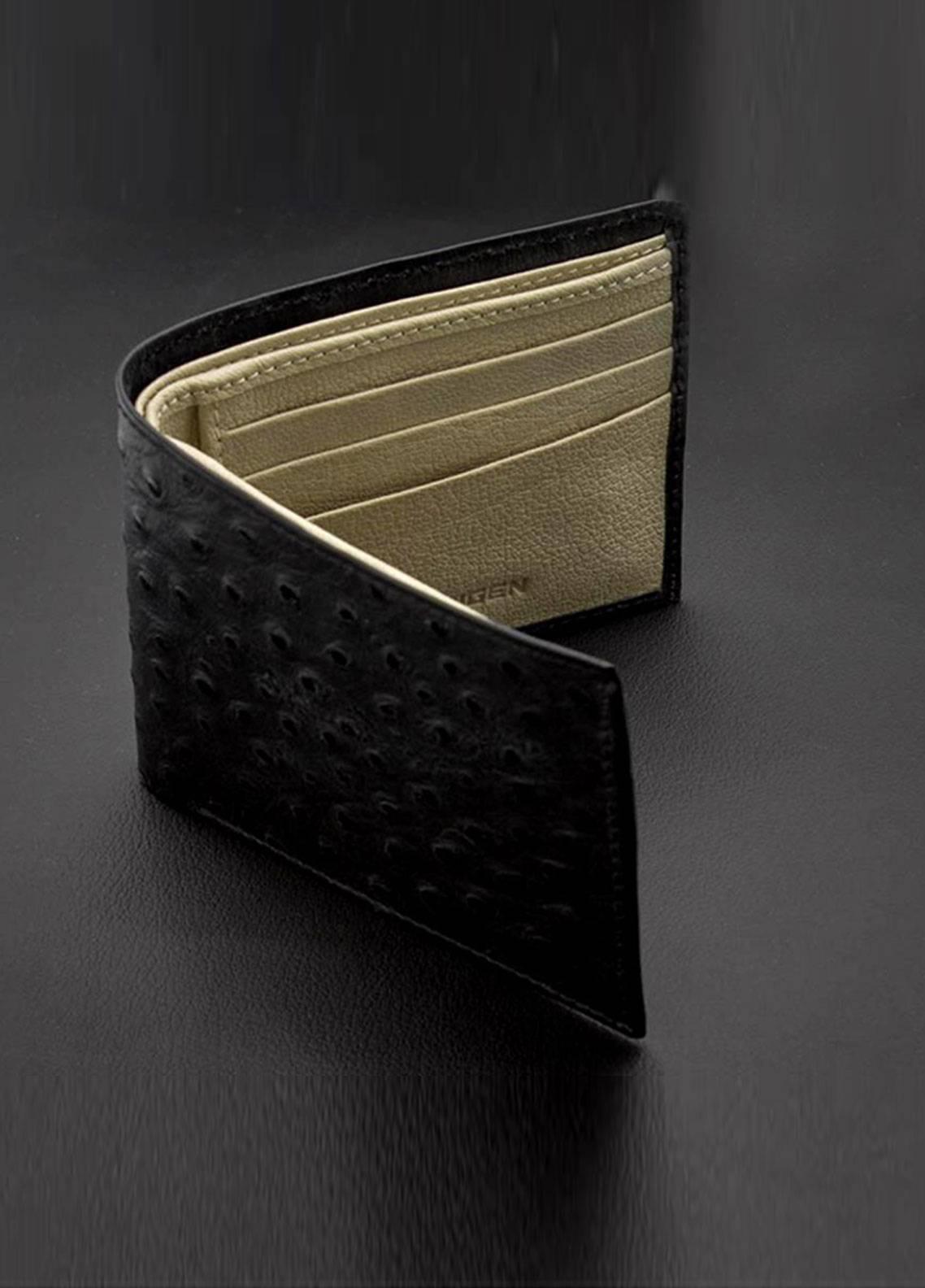 Skangen Ostrich Premium Cow Leather Textured Wallets SKWT-1005 - Men's Accessories