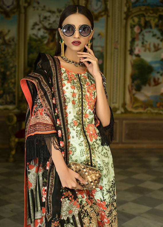 Summerina By LSM Embroidered Lawn Unstitched 3 Piece Suit SMR18L 1A - Spring / Summer Collection