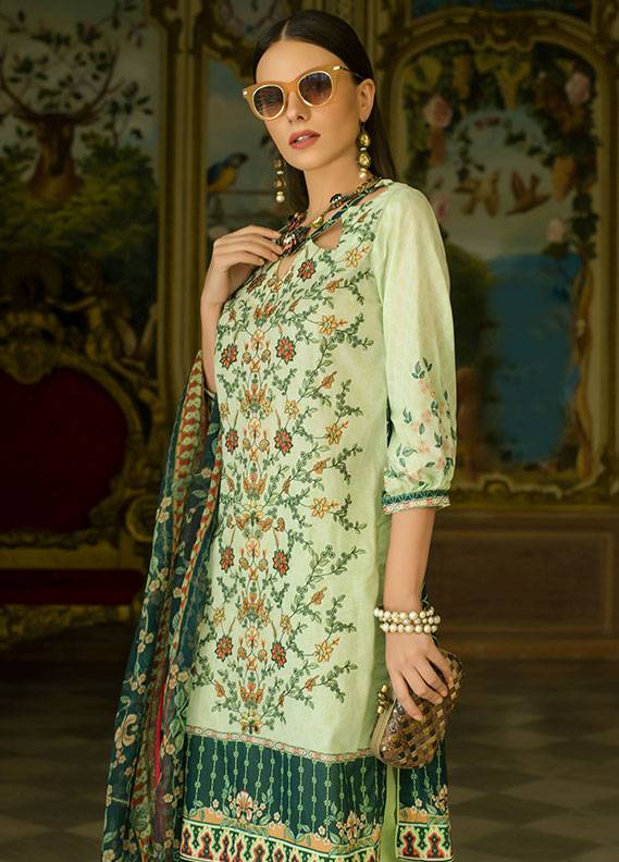 Summerina By LSM Embroidered Lawn Unstitched 3 Piece Suit SMR18L 2B - Spring / Summer Collection