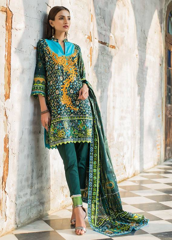 Summerina By LSM Embroidered Lawn Unstitched 3 Piece Suit SMR18L 8A - Spring / Summer Collection
