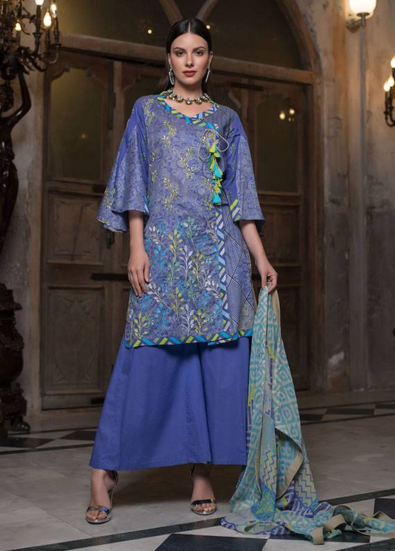 Summerina By LSM Embroidered Lawn Unstitched 3 Piece Suit SMR18L 9B - Spring / Summer Collection
