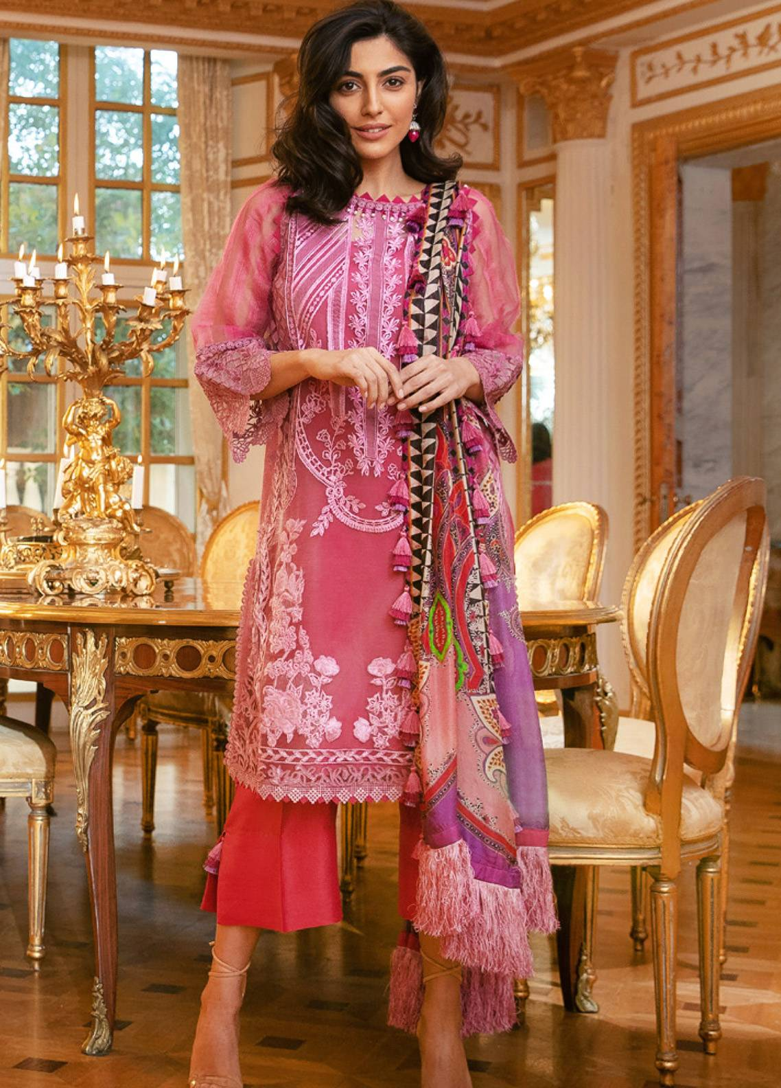 Sobia Nazir Embroidered Zari Net Unstitched 3 Piece Suit SN19E 7A - Eid Collection