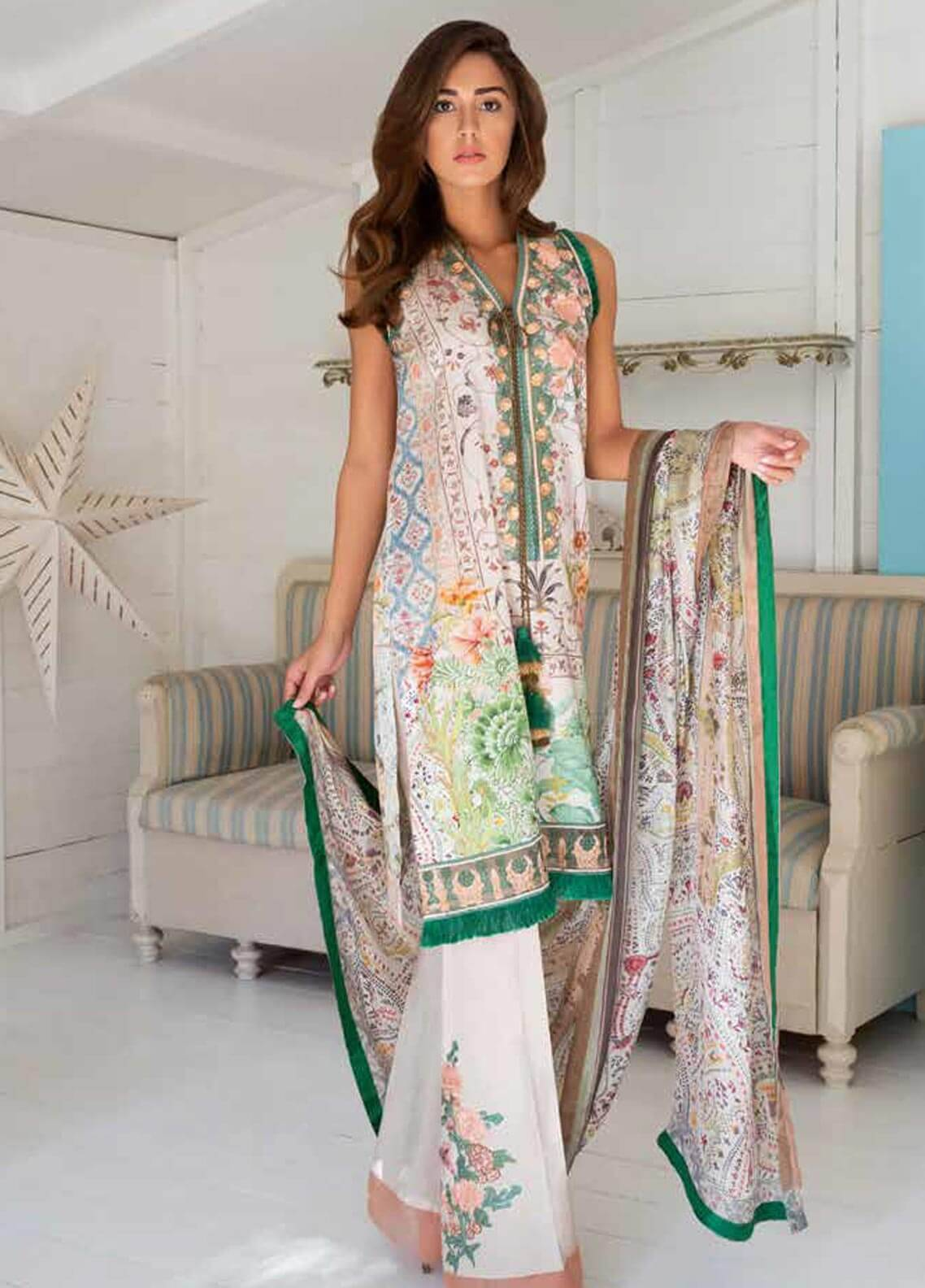 Sobia Nazir Embroidered Cotton Satin Unstitched 3 Piece Suit SN18W 1B - Winter Collection