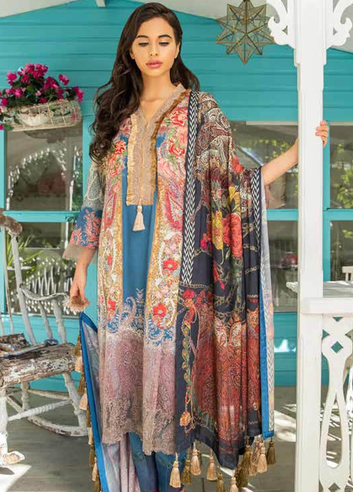 Sobia Nazir Embroidered Dobby Unstitched 3 Piece Suit SN18W 7B - Winter Collection