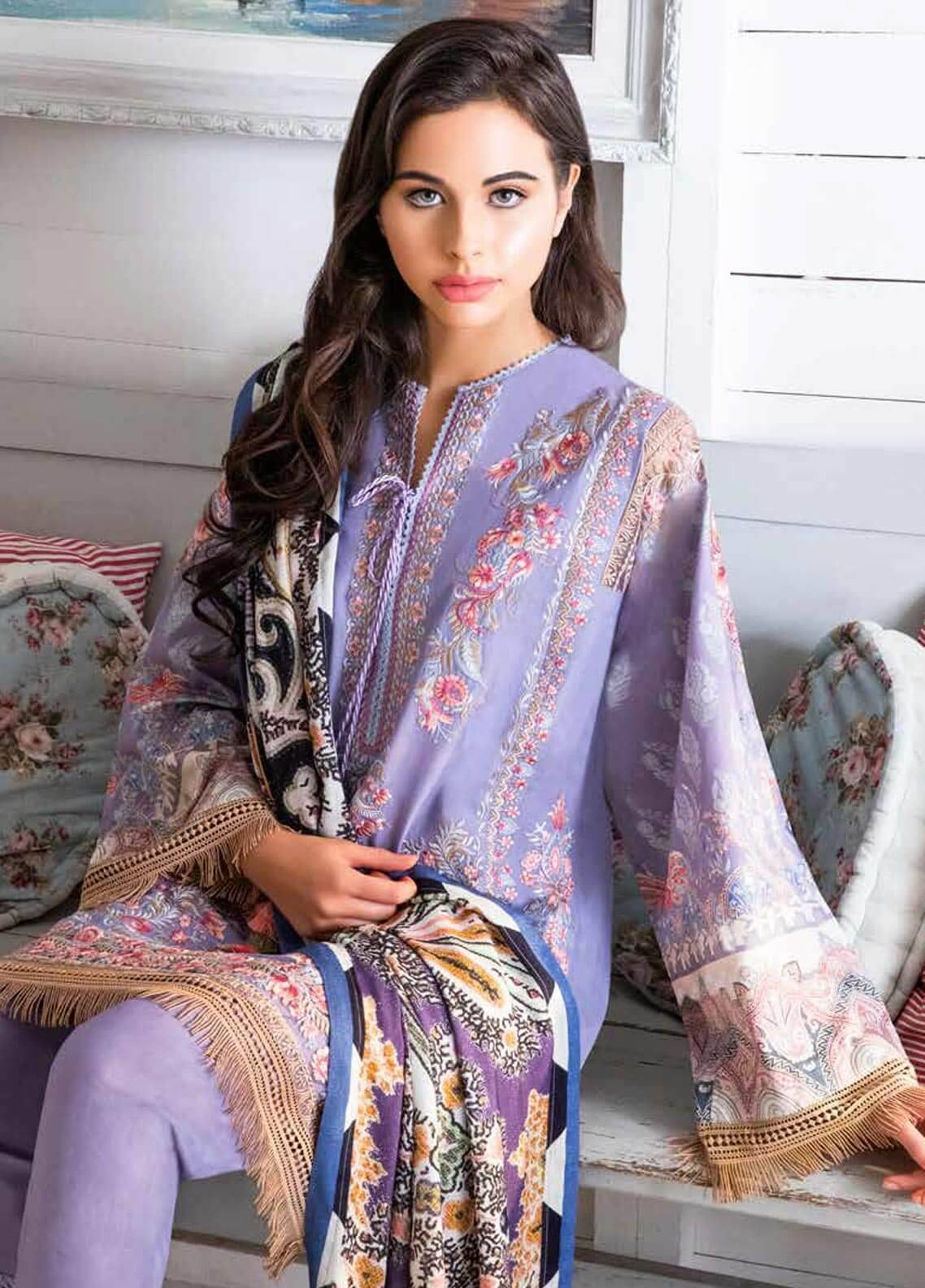 Sobia Nazir Embroidered Cotton Satin Unstitched 3 Piece Suit SN18W 8A - Winter Collection