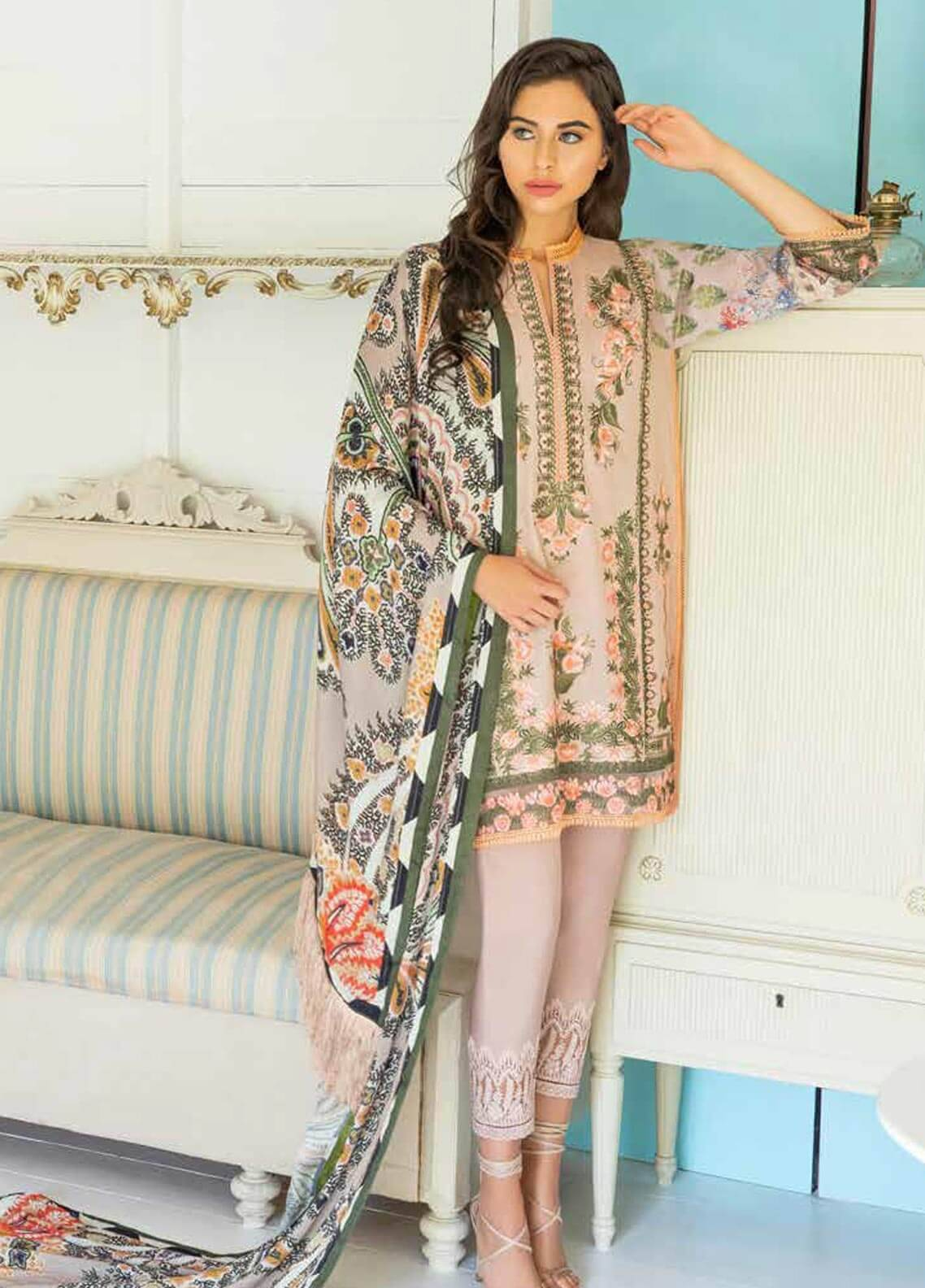 Sobia Nazir Embroidered Cotton Satin Unstitched 3 Piece Suit SN18W 8B - Winter Collection