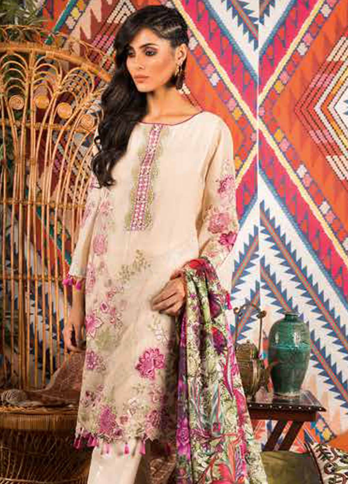 Sapphire Embroidered Messori Unstitched 3 Piece Suit Bohemian dream - Autumn - Fall Collection