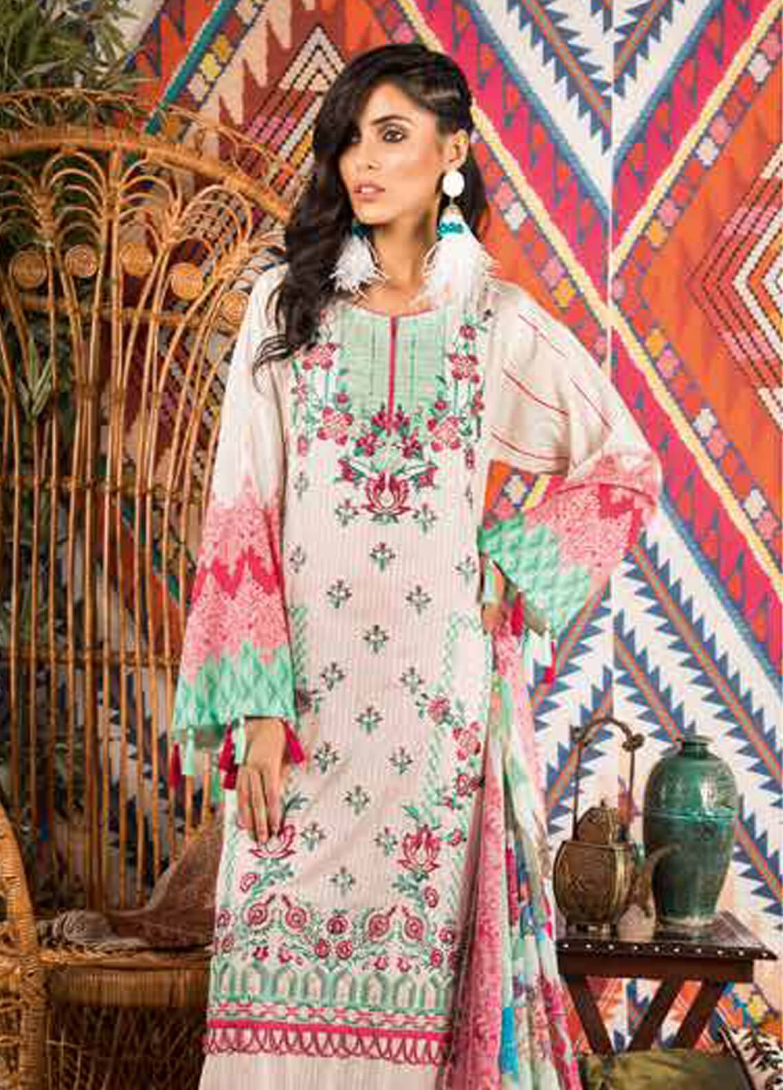 Sapphire Embroidered Cotton Unstitched 3 Piece Suit Classic Story - Autumn - Fall Collection