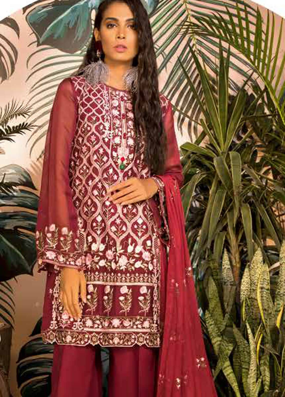 Sapphire Embroidered Khaadi Net Unstitched 3 Piece Suit Crimson - Autumn - Fall Collection