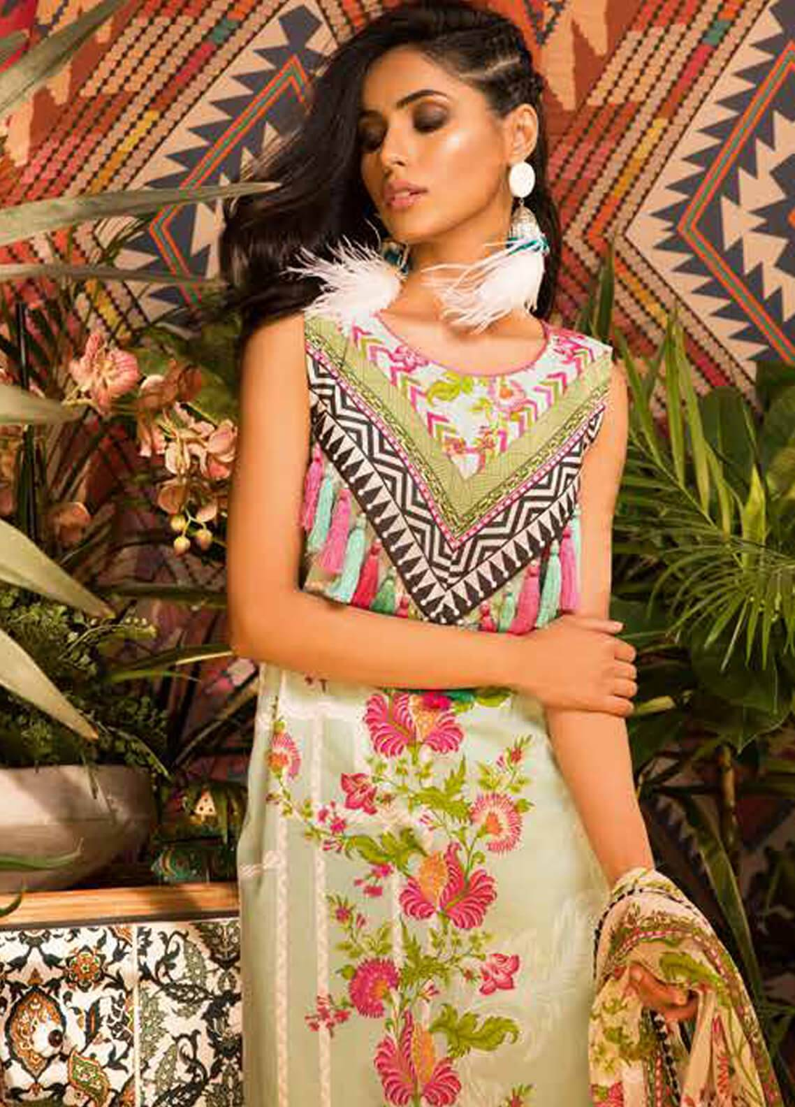 Sapphire Printed Cotton Unstitched 2 Piece Suit Iris B - Autumn - Fall Collection