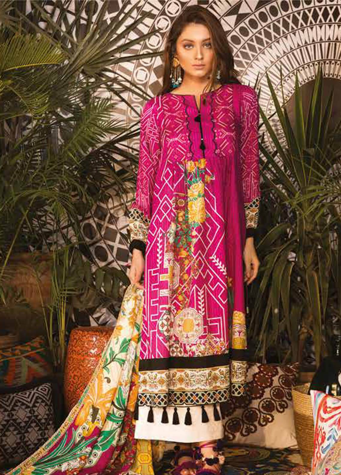 Sapphire Printed Cotton Unstitched 3 Piece Suit Marrakesh B - Autumn - Fall Collection