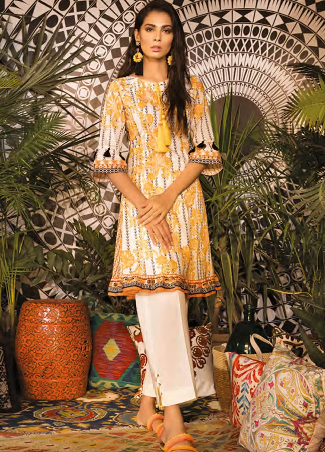 Sapphire Printed Cotton Unstitched 2 Piece Suit Pansy Garden B - Autumn - Fall Collection