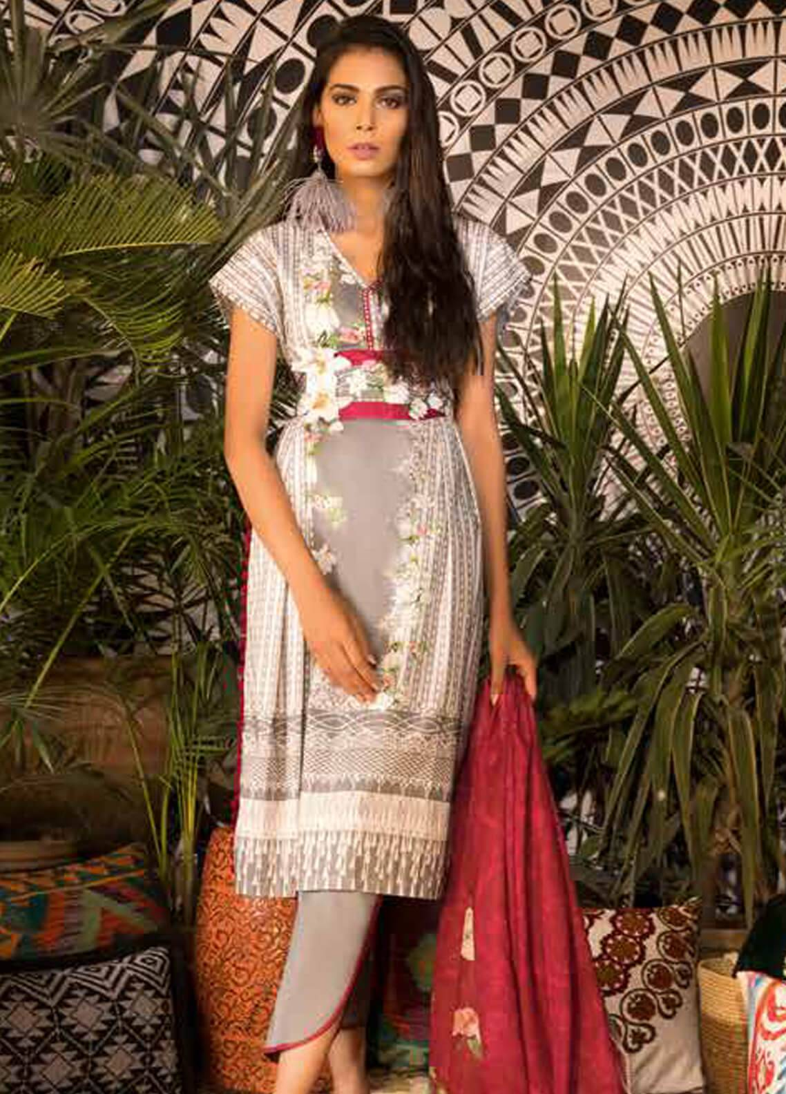 Sapphire Printed Cotton Unstitched 2 Piece Suit Pure A - Autumn - Fall Collection