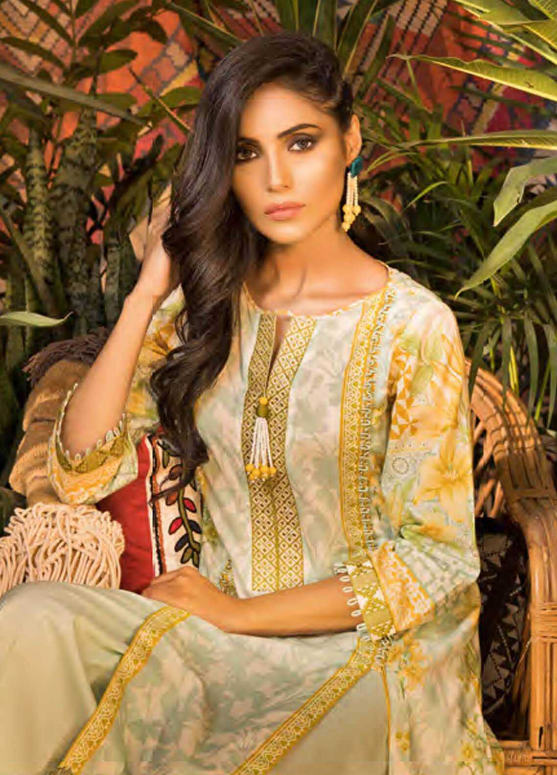 Sapphire Embroidered Cotton Unstitched 2 Piece Suit Pure Bliss A - Autumn - Fall Collection