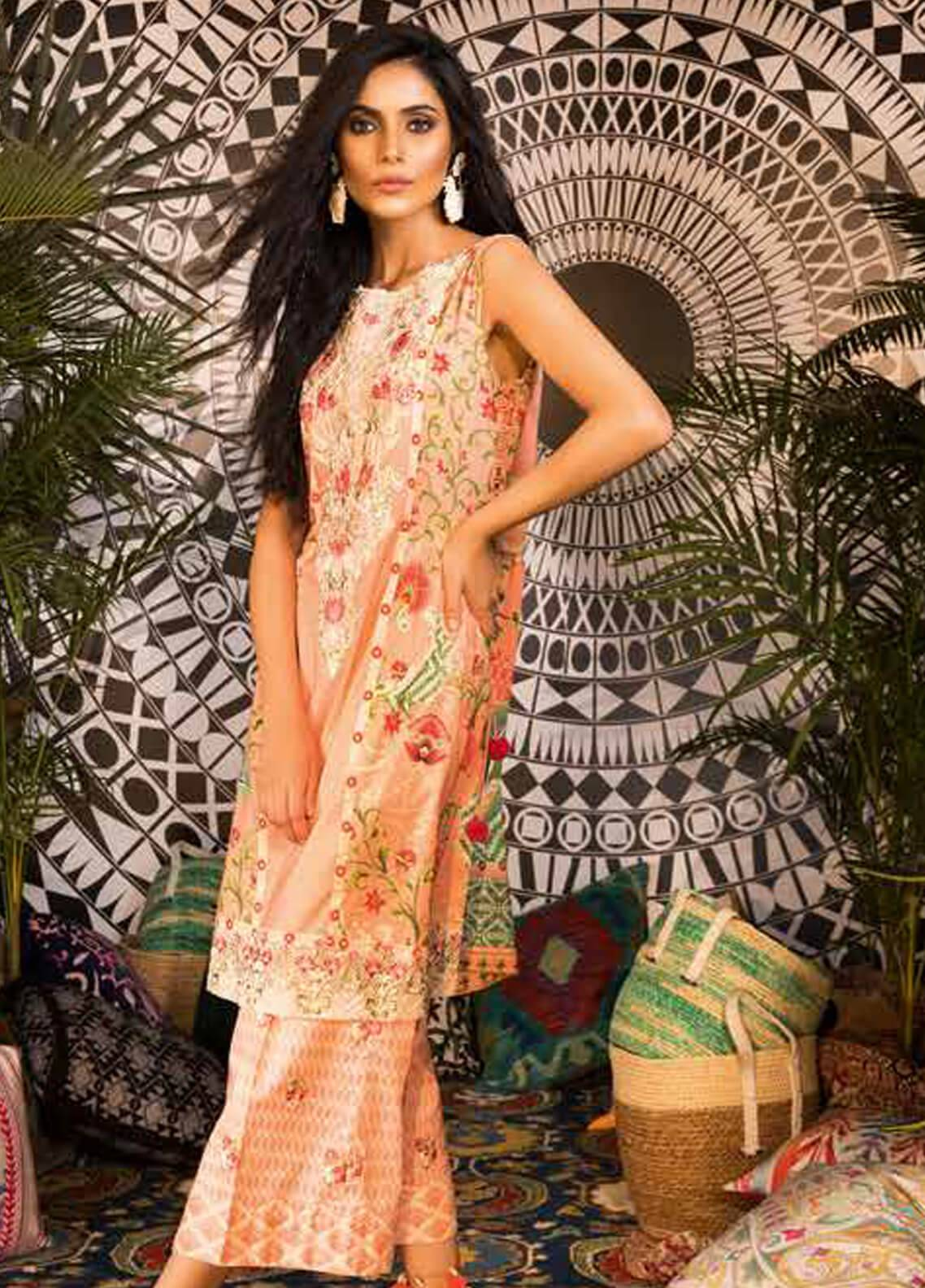 Sapphire Embroidered Cotton Unstitched 2 Piece Suit Samarqand B - Autumn - Fall Collection