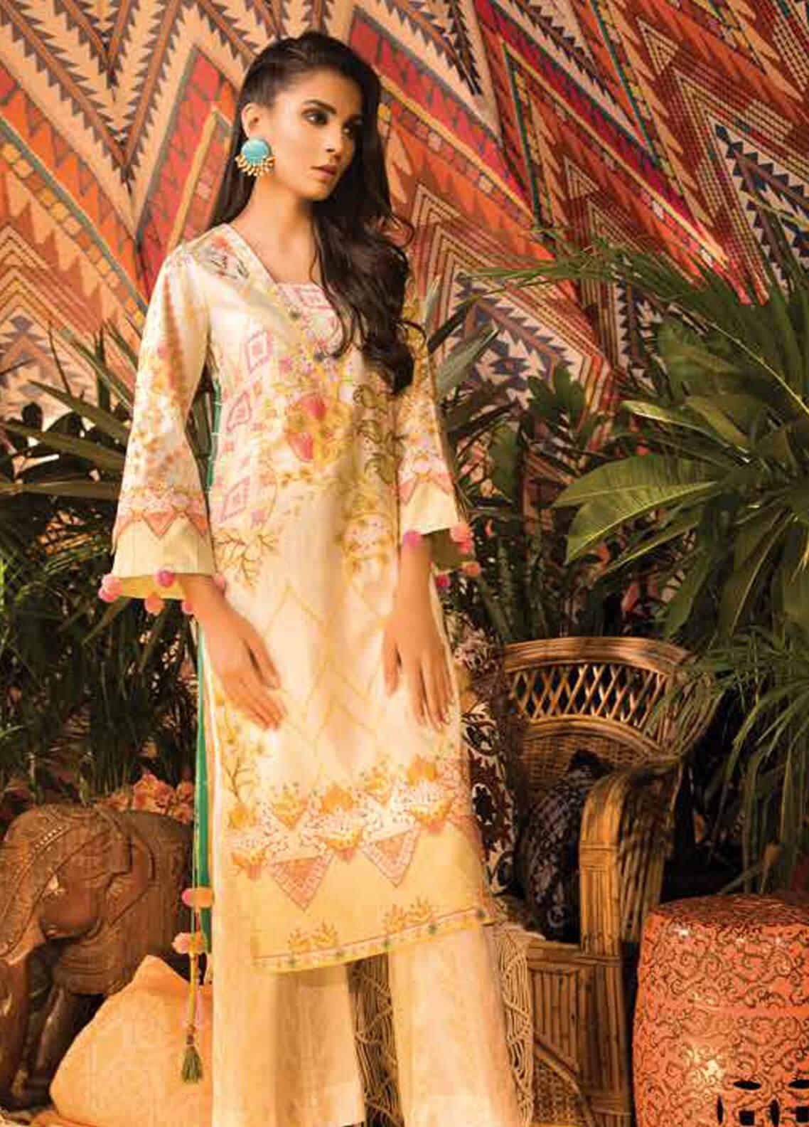Sapphire Printed Cotton Unstitched 2 Piece Suit Vintage petal A  - Autumn - Fall Collection