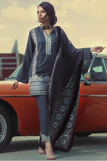 Saira Rizwan Embroidered Jacquard Unstitched 3 Piece Suit SR16W 04