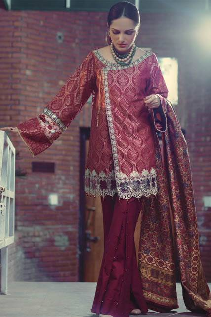 Saira Rizwan Embroidered Karandi Unstitched 3 Piece Suit SR16W 05